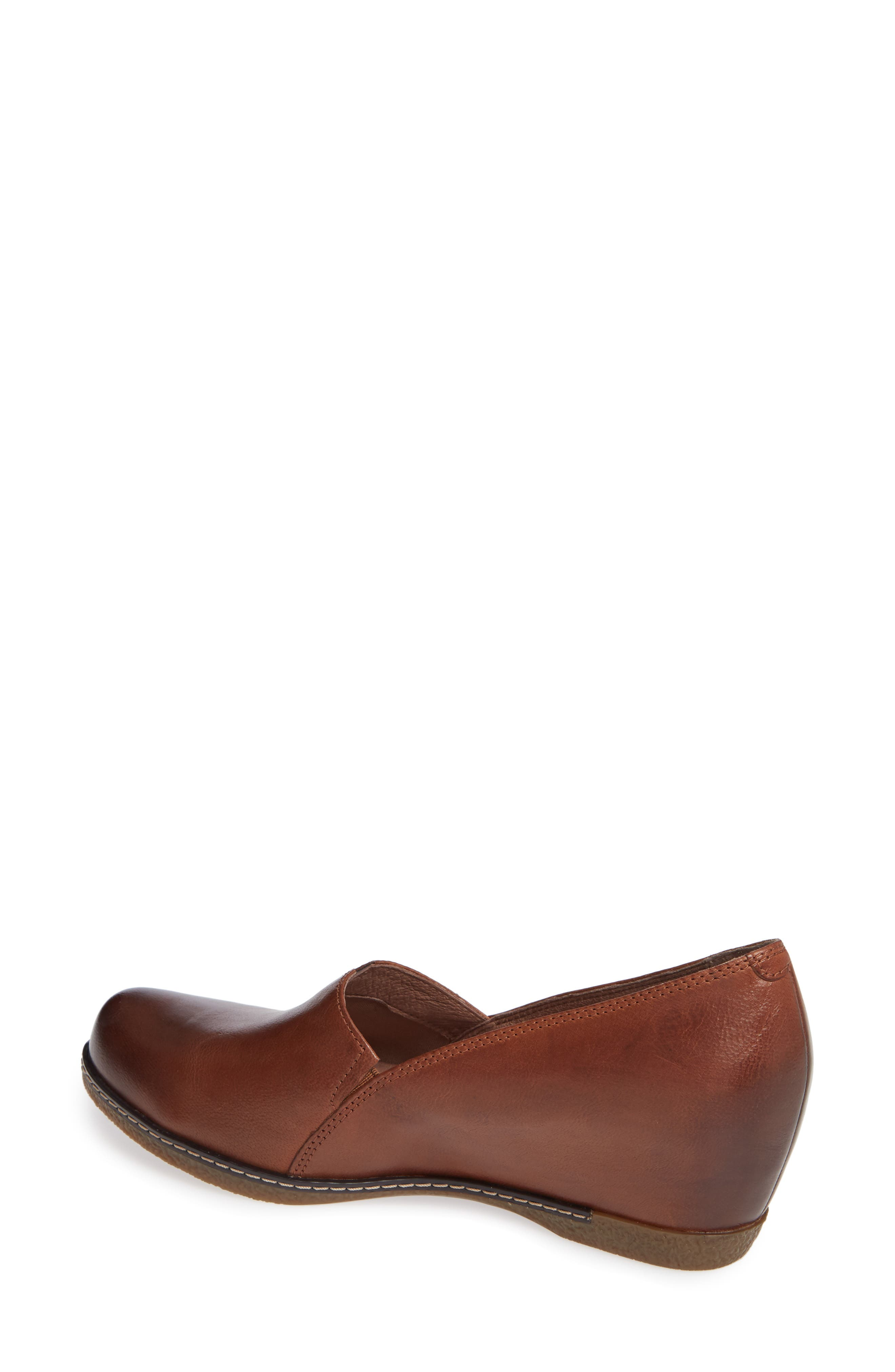 Liliana Concealed Wedge Slip-On,                             Alternate thumbnail 2, color,                             CHESTNUT BURNISHED LEATHER
