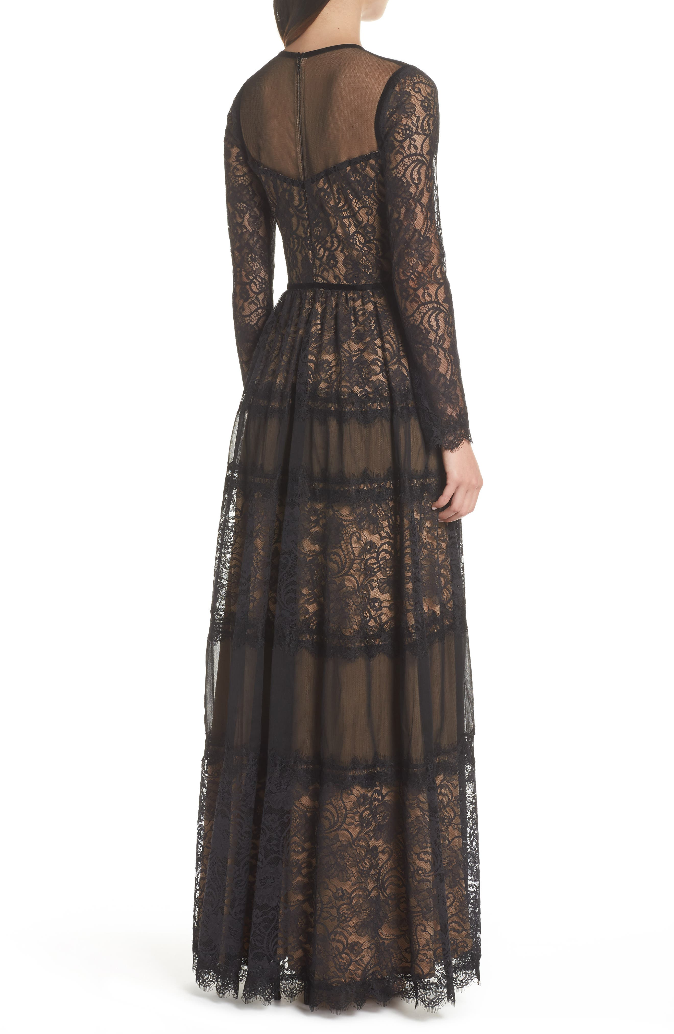 Lace Gown,                             Alternate thumbnail 2, color,                             BLACK/ NUDE
