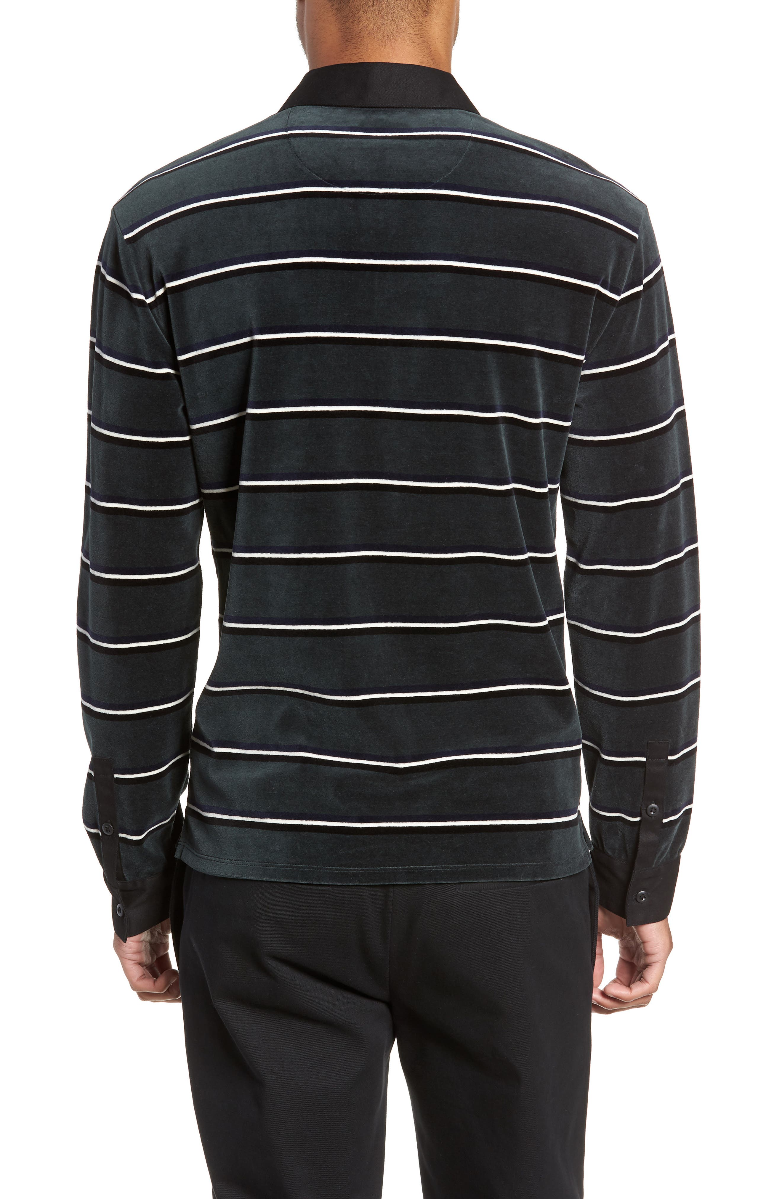 Rugby Stripe Long Sleeve Polo,                             Alternate thumbnail 2, color,                             HUNTER GREEN