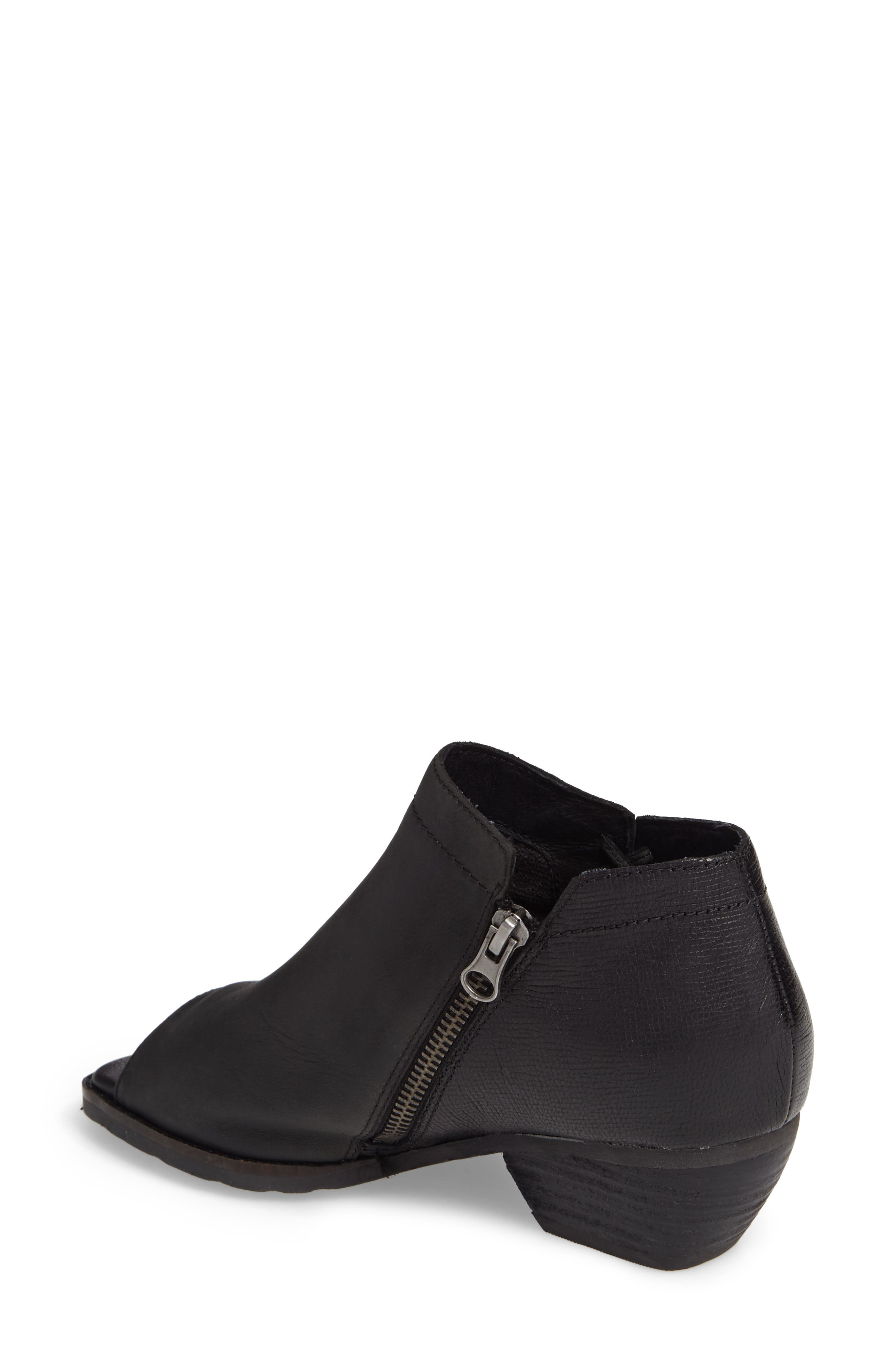 Truckage Open Toe Bootie,                             Alternate thumbnail 2, color,                             BLACK LEATHER