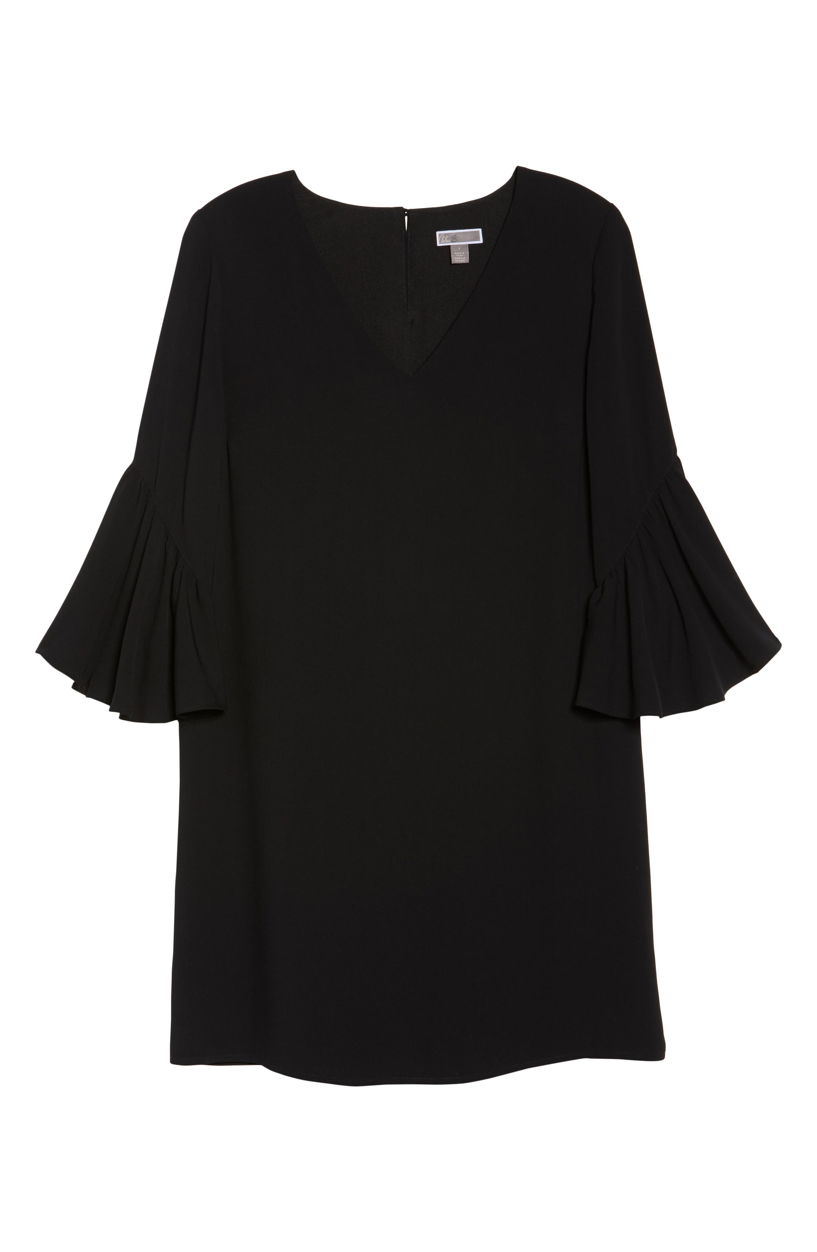 Bell Sleeve Shift Dress,                             Alternate thumbnail 6, color,                             001