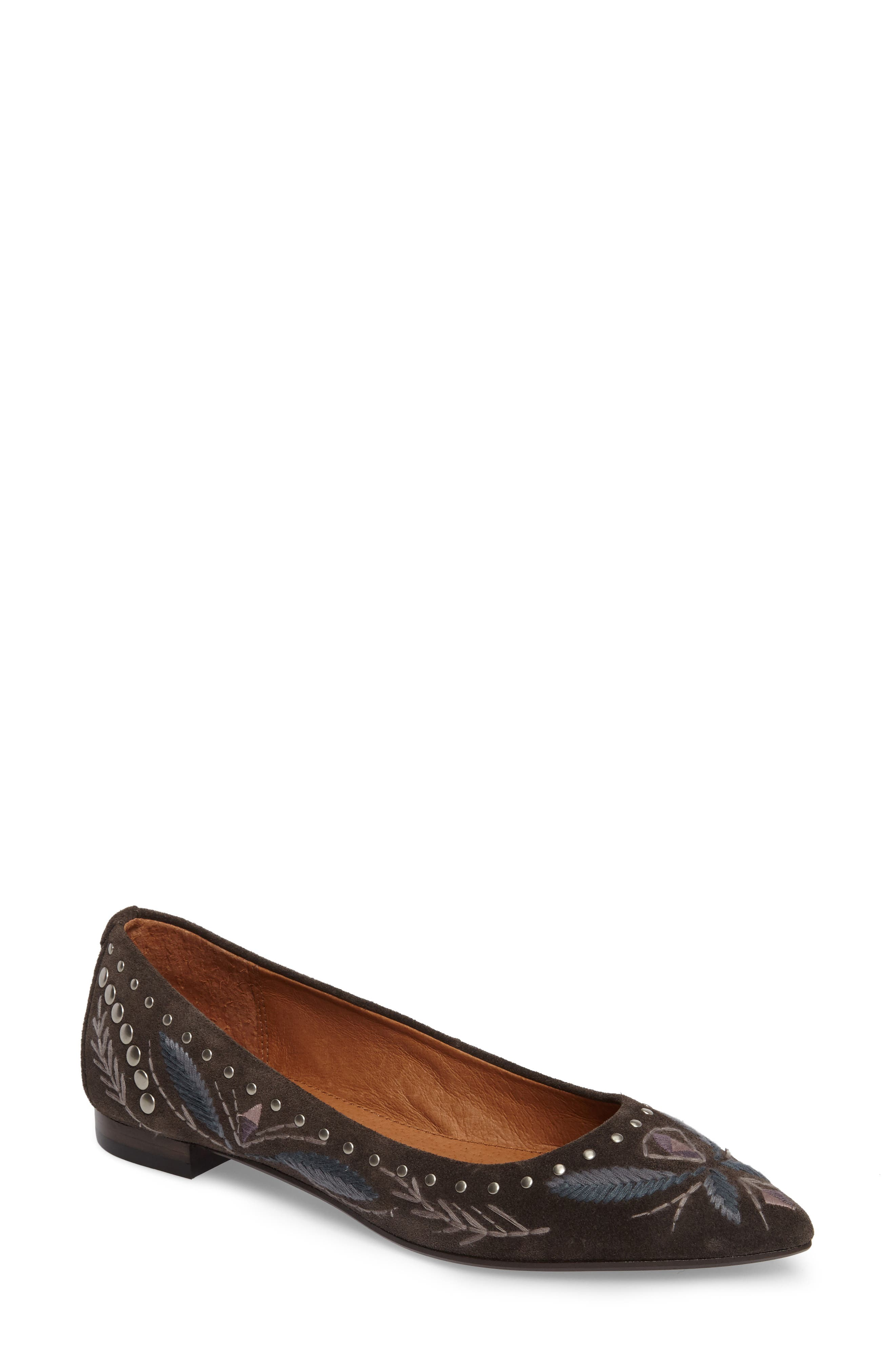 Sienna Embroidered Ballet Flat,                             Main thumbnail 1, color,                             030