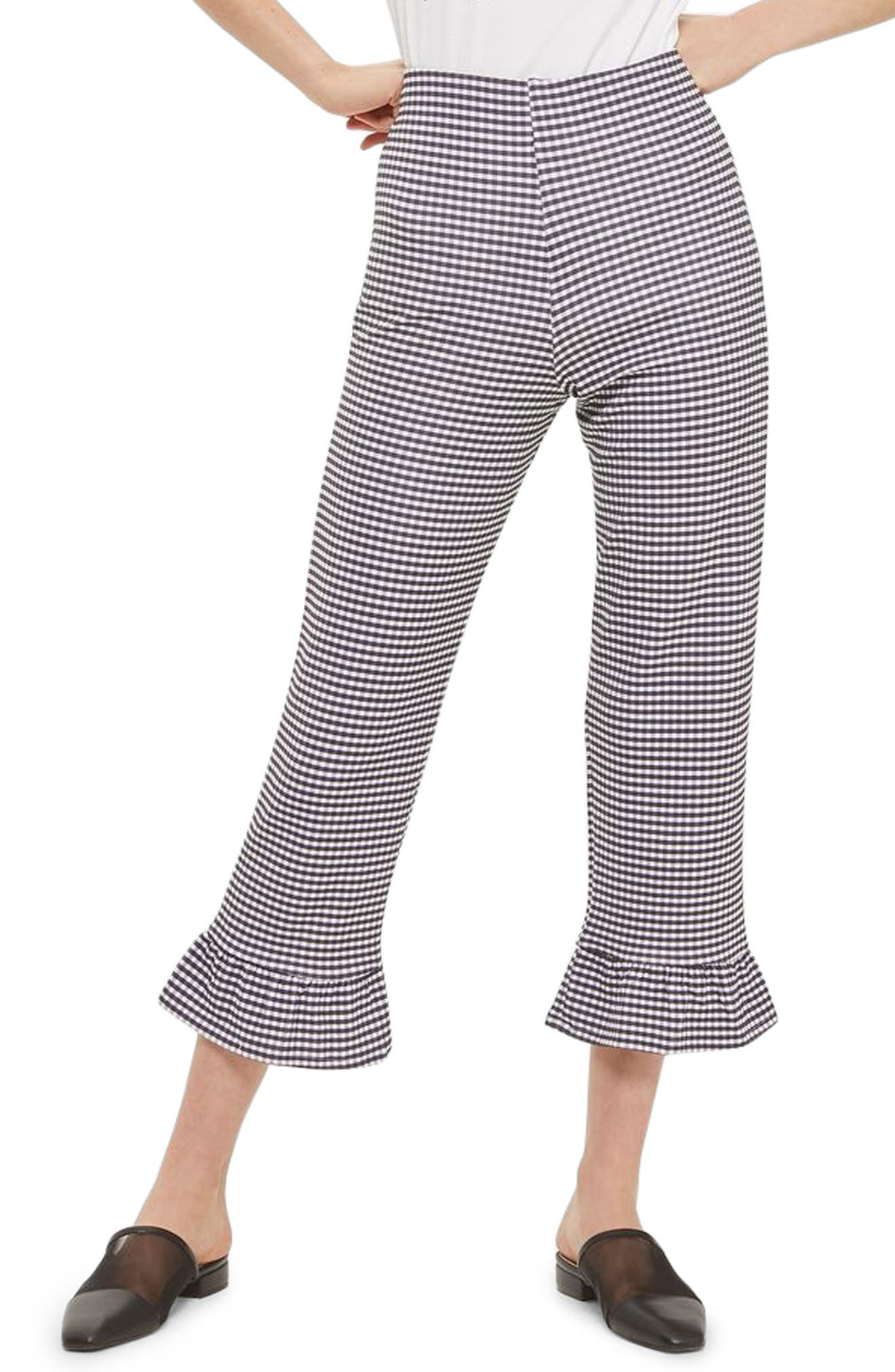 Gingham Ruffle Capri Trousers,                             Main thumbnail 1, color,