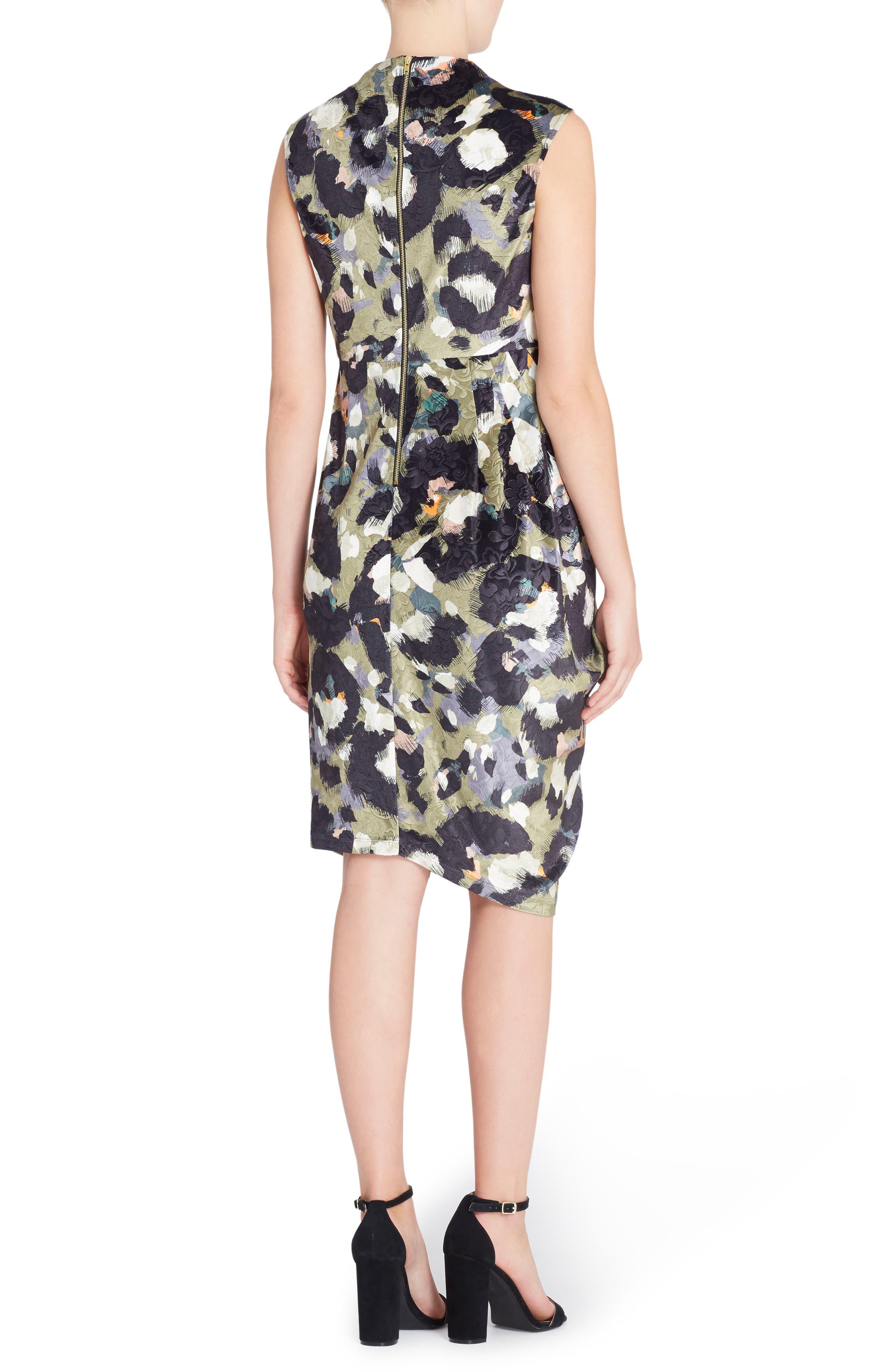 Arlene Floral Jacquard Sheath Dress,                             Alternate thumbnail 2, color,                             CAT PAINT