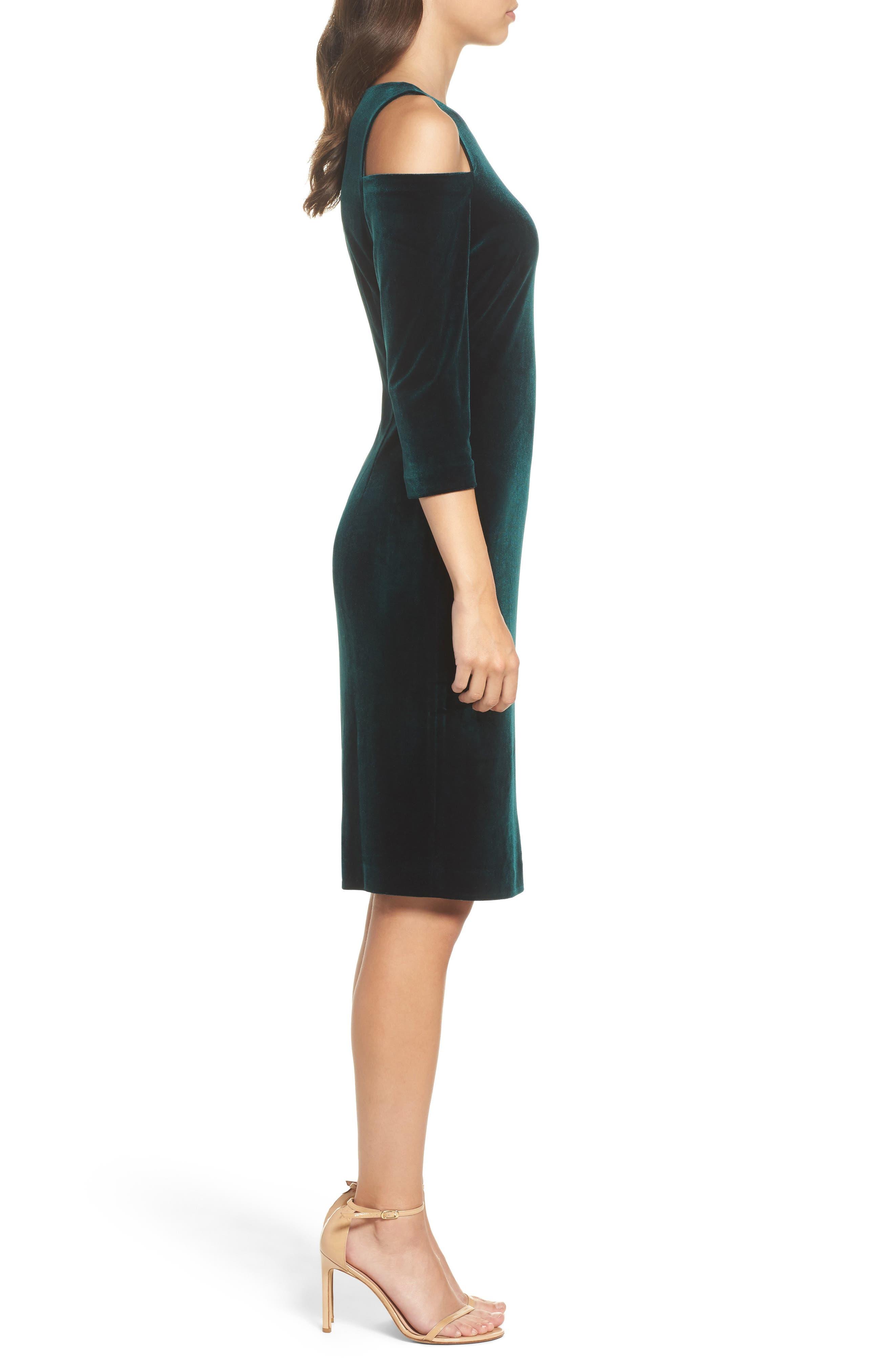 Cold Shoulder Velvet Sheath Dress,                             Alternate thumbnail 3, color,                             302