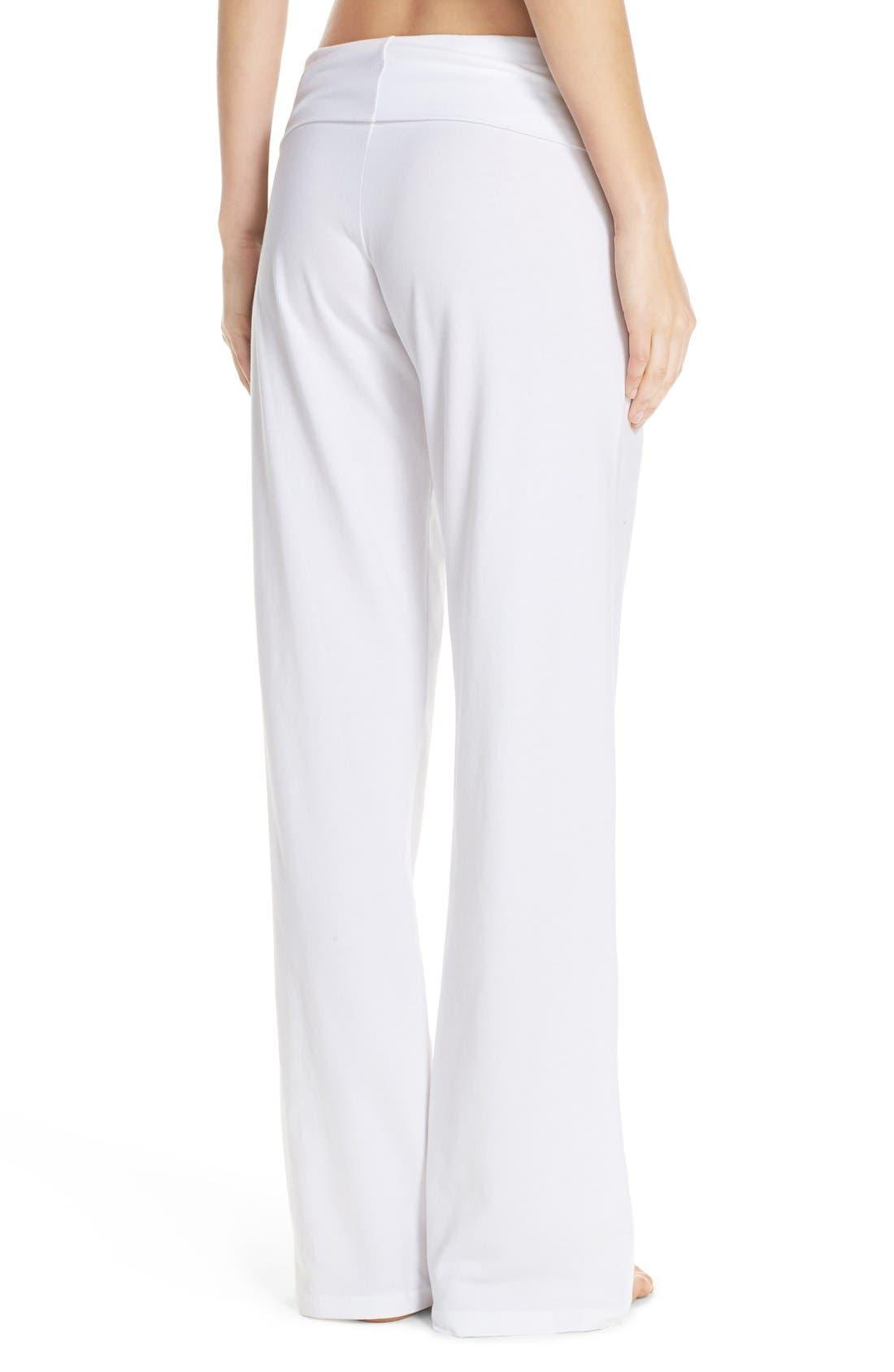 Wide Leg Stretch Cotton Pajama Pants,                             Alternate thumbnail 3, color,                             WHITE