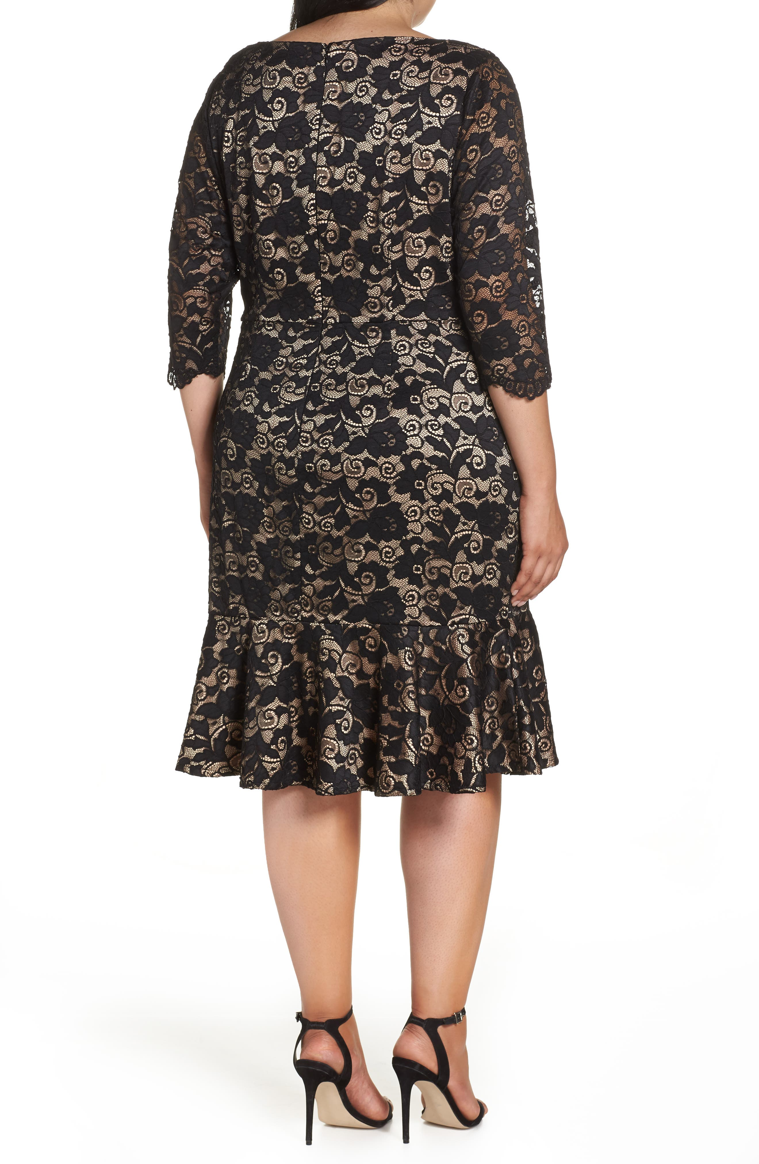 Flounce Hem Lace Dress,                             Alternate thumbnail 2, color,                             001