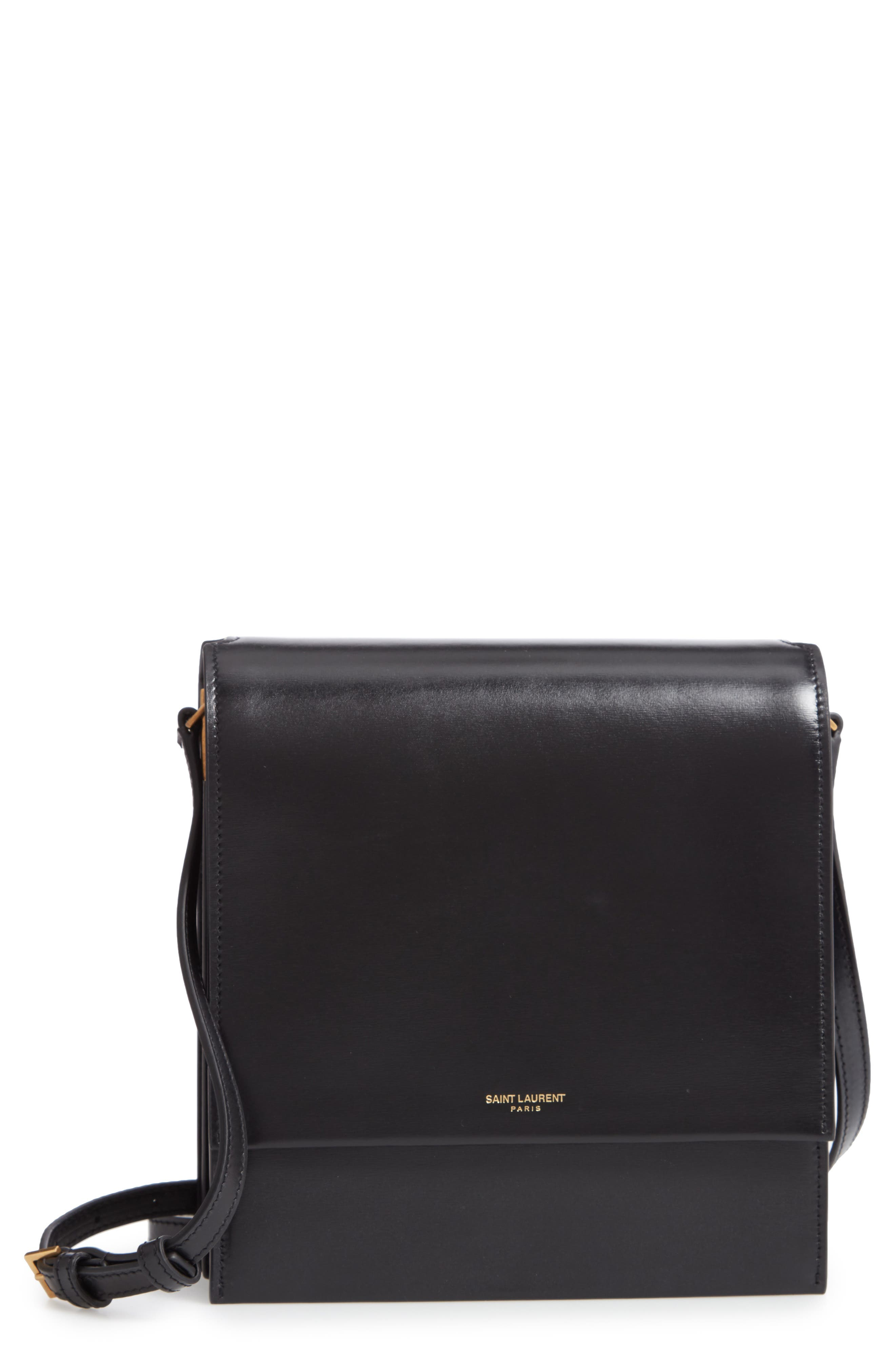 Sao Leather Shoulder Bag,                         Main,                         color, NOIR