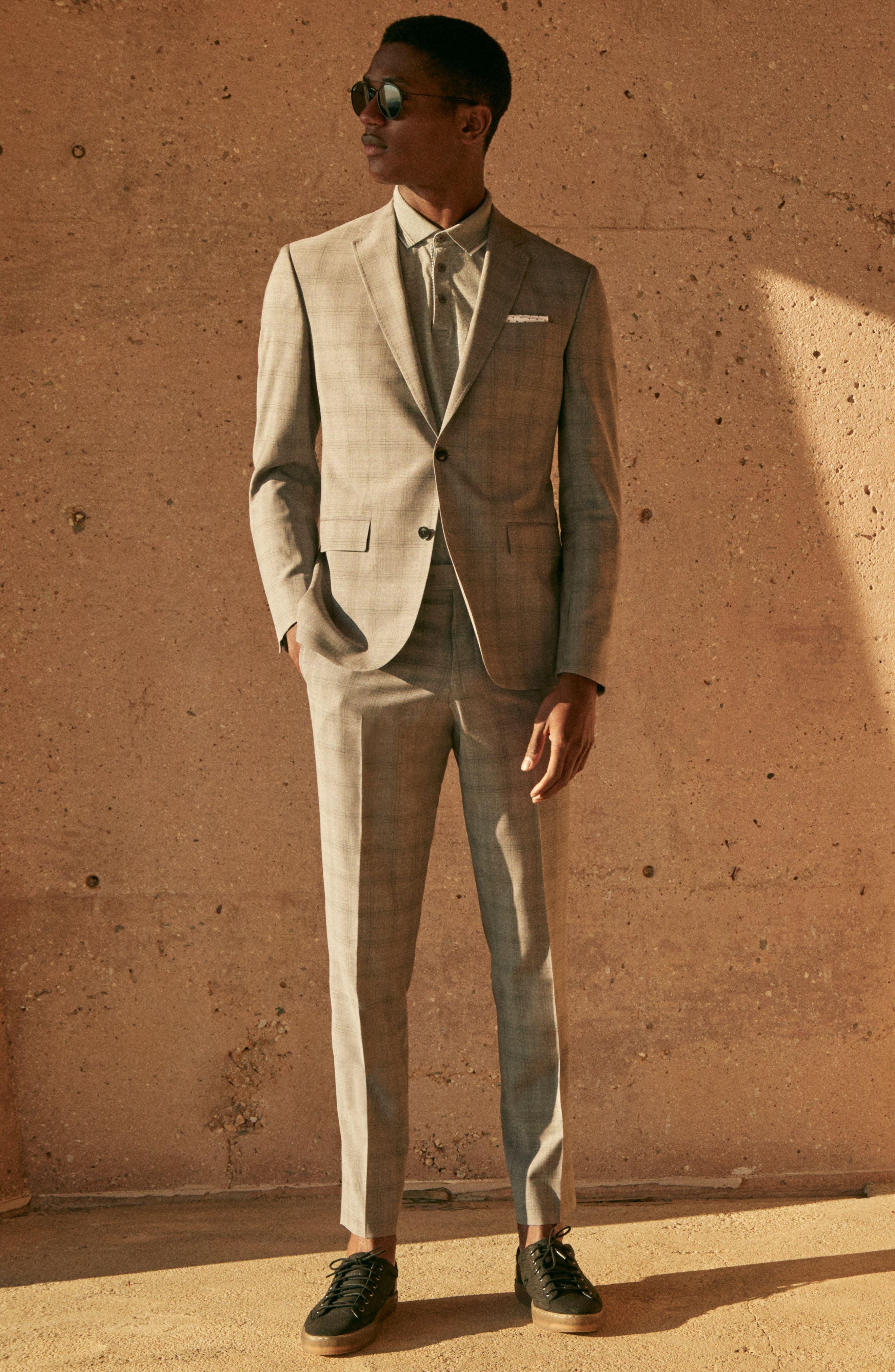 Jay Trim Fit Plaid Wool Suit,                             Alternate thumbnail 9, color,                             050