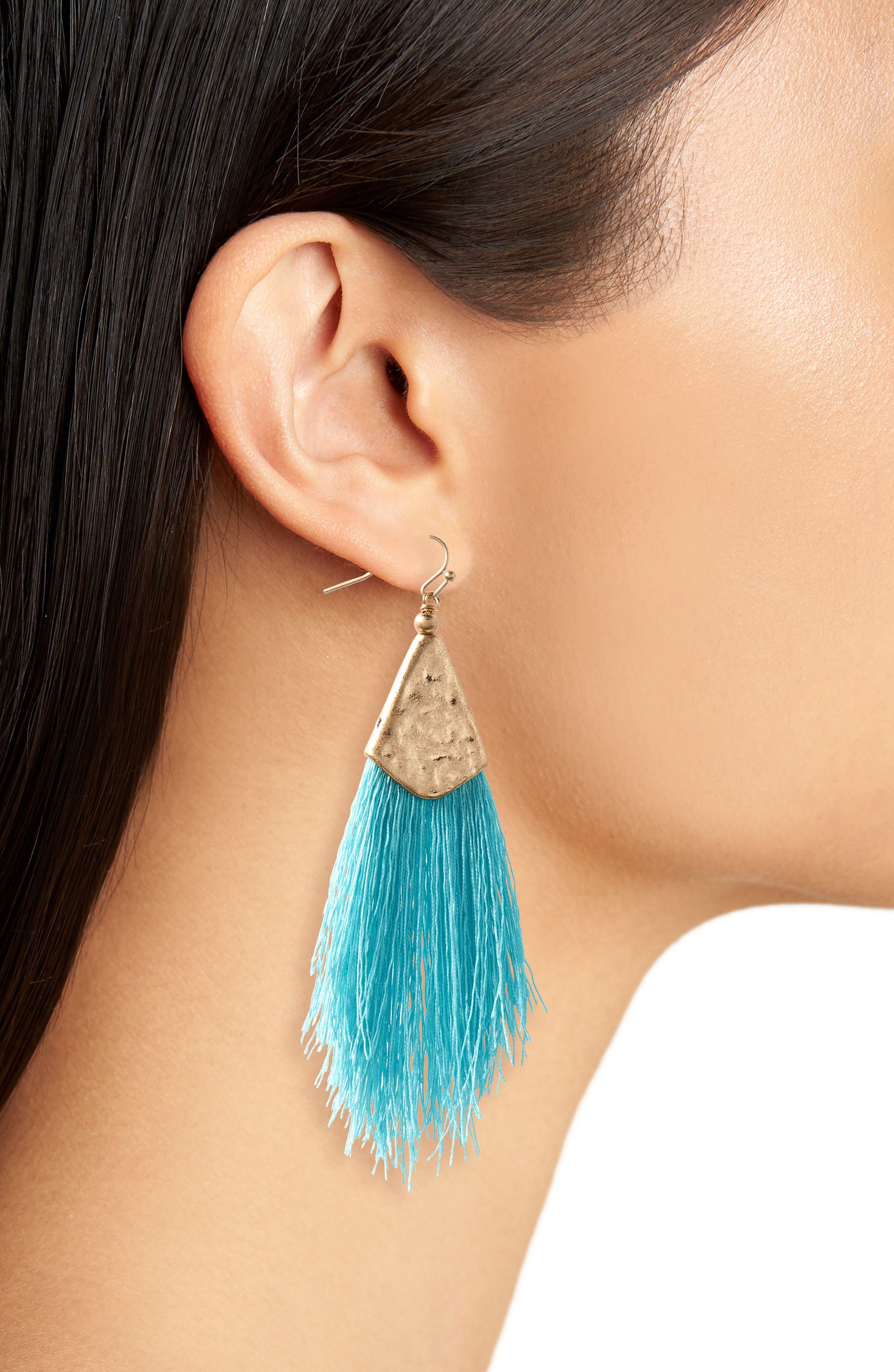 Fan Tassel Earrings,                             Alternate thumbnail 6, color,