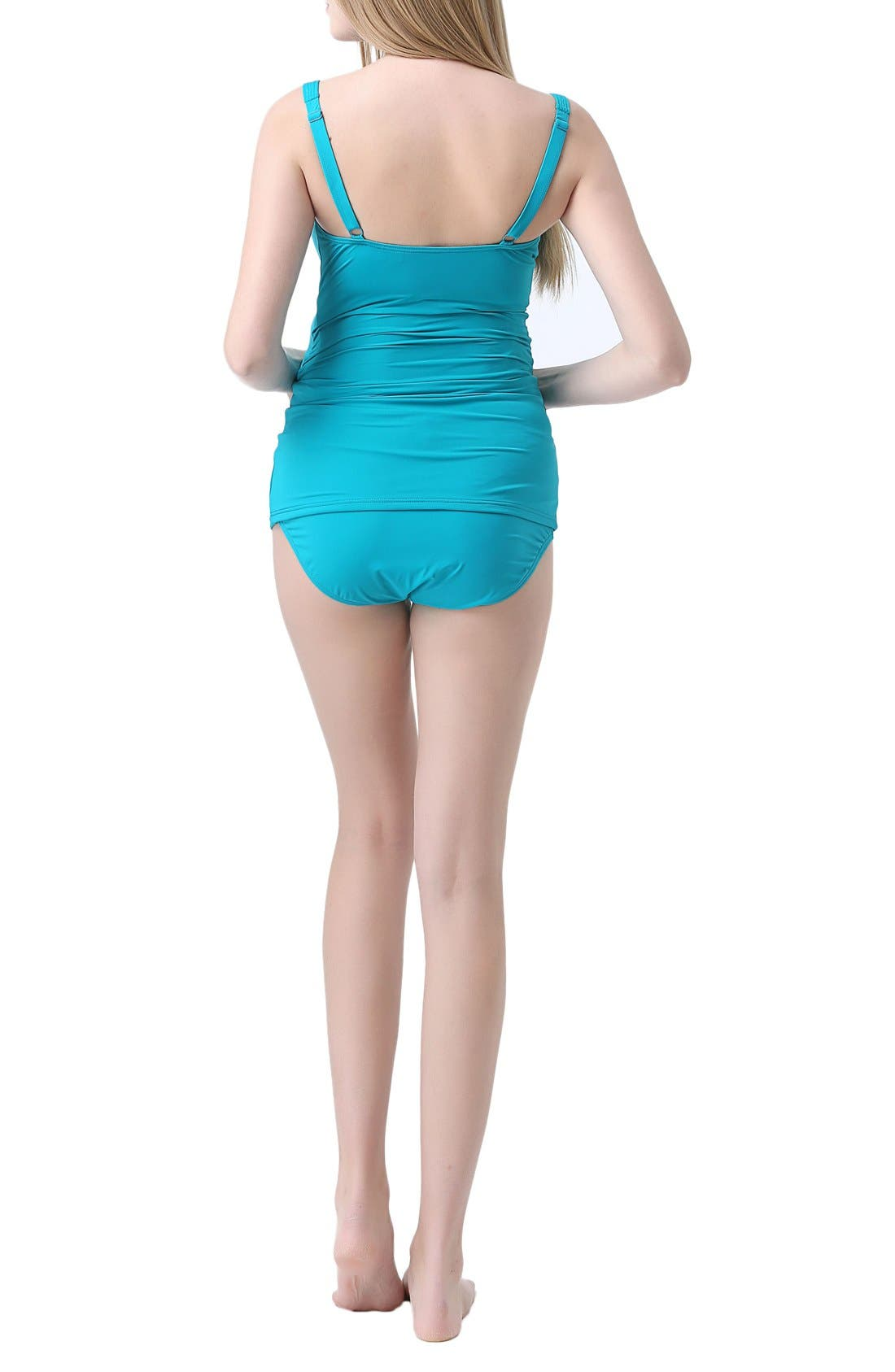 'Milly' Maternity Two-Piece Tankini Swimsuit,                             Alternate thumbnail 2, color,                             TEAL