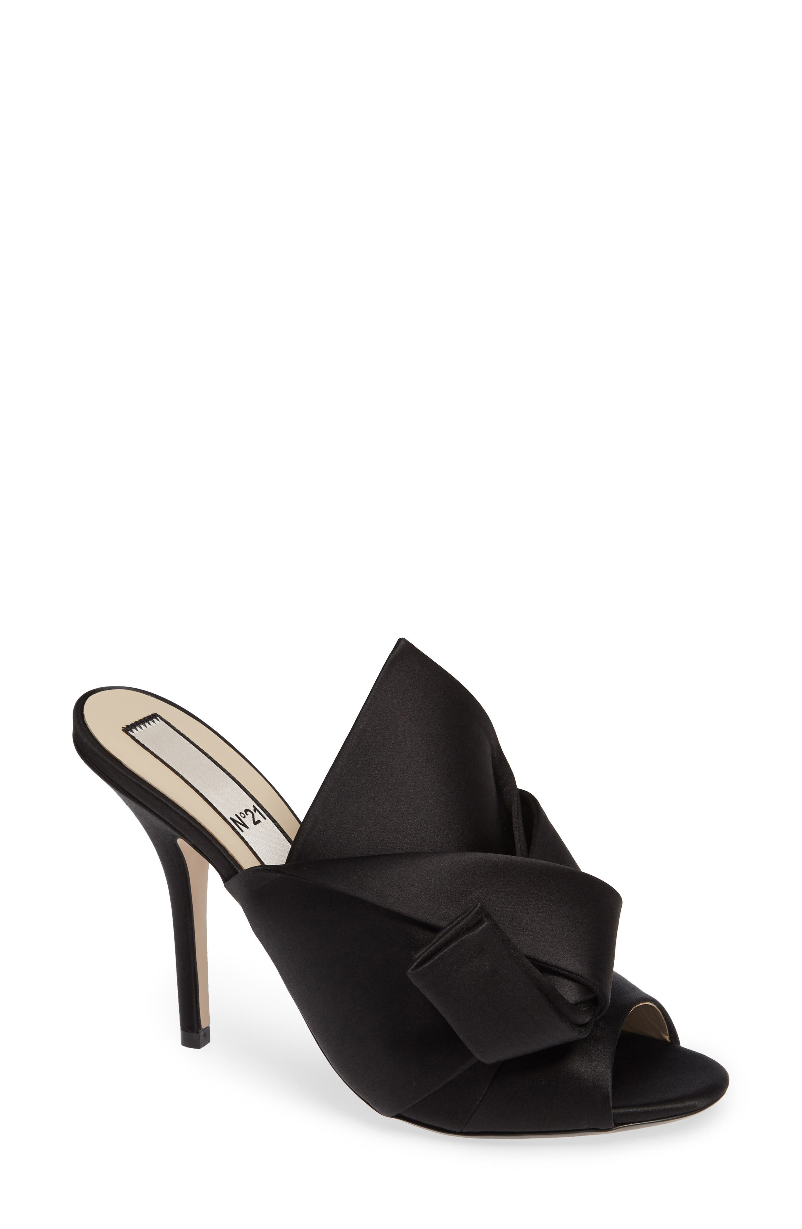 Bow Sandal,                         Main,                         color, BLACK FABRIC