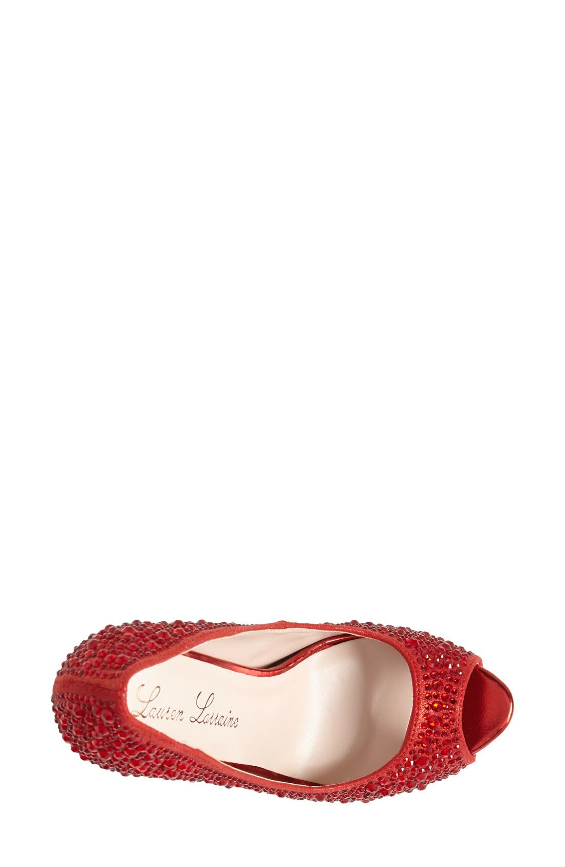'Candy' Crystal Peep Toe Pump,                             Alternate thumbnail 2, color,                             RED