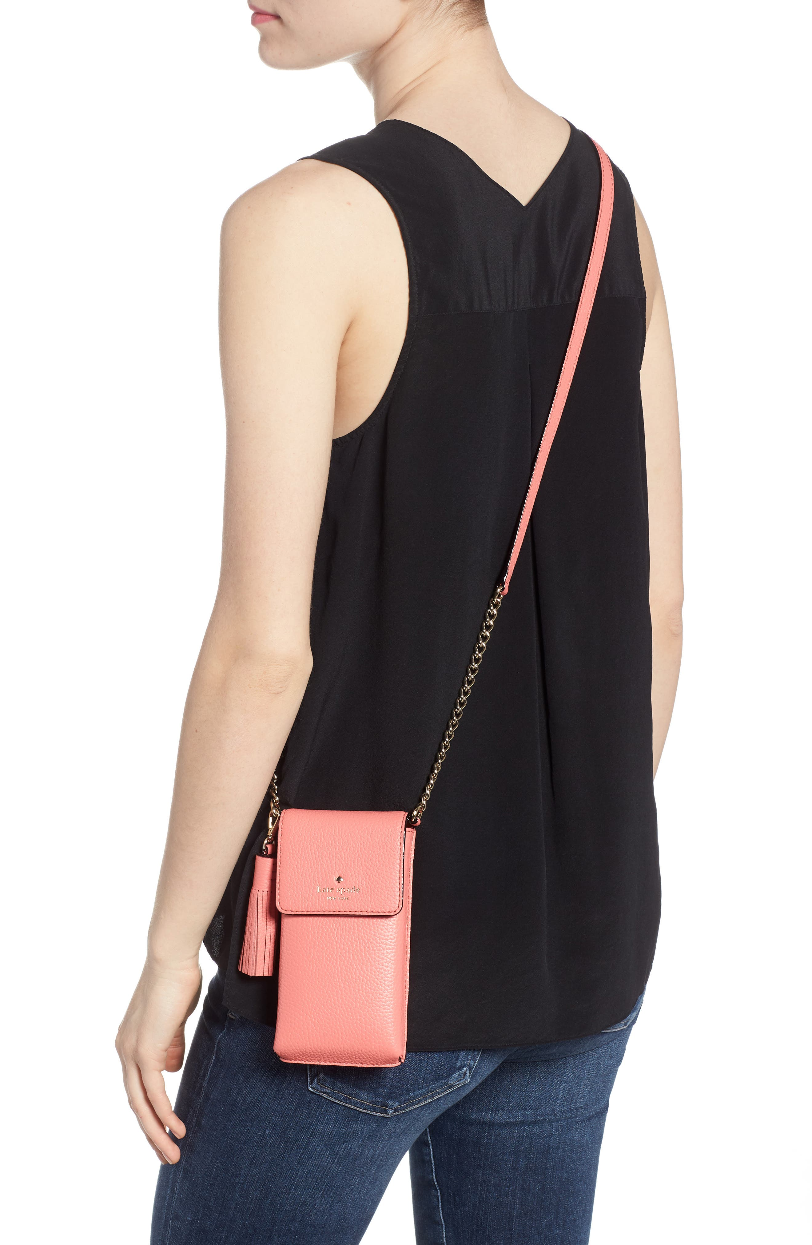 north/south leather smartphone crossbody bag,                             Alternate thumbnail 2, color,                             CORAL PEBBLE