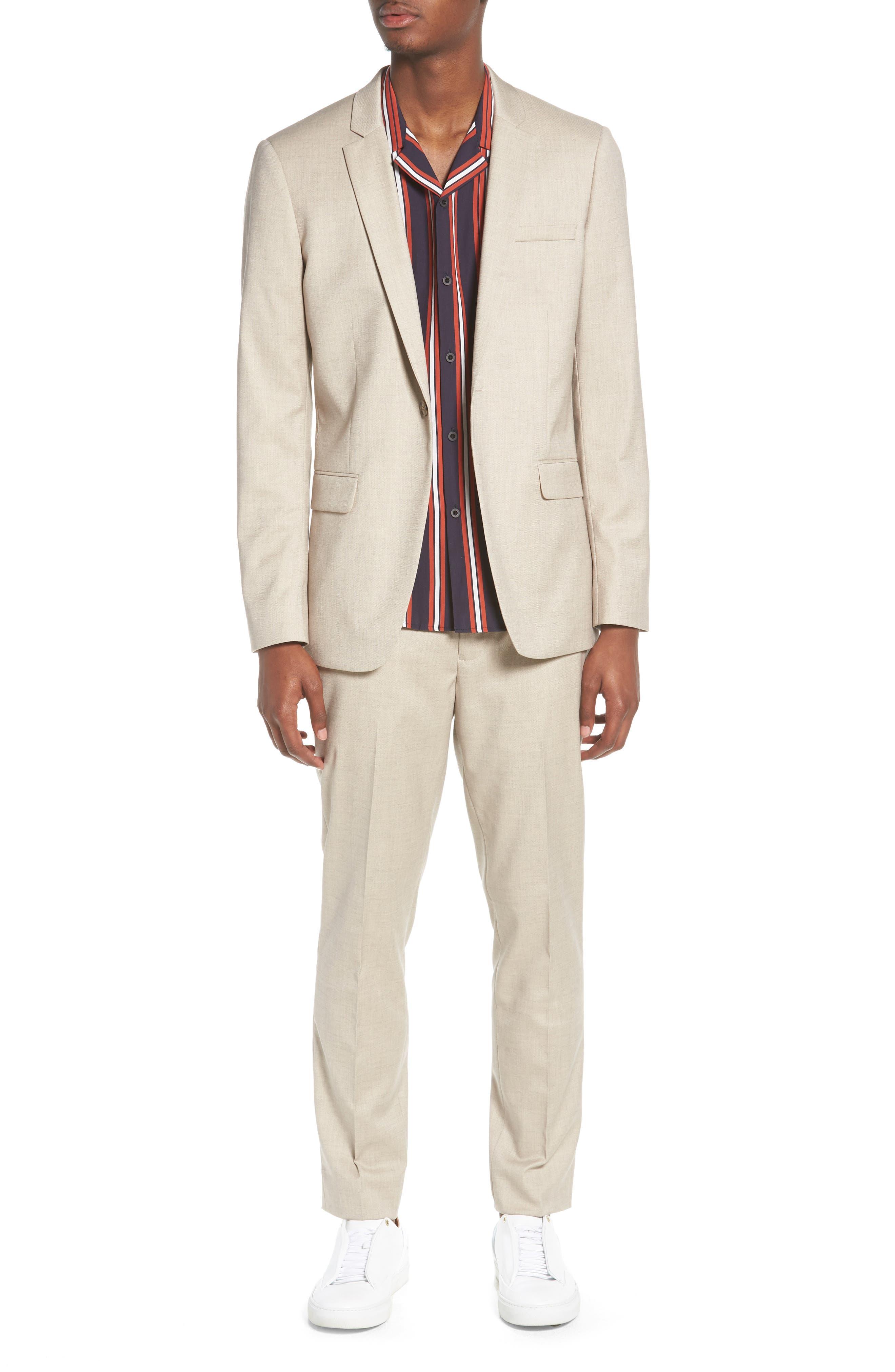 Skinny Fit Check Suit Jacket,                             Alternate thumbnail 7, color,                             250