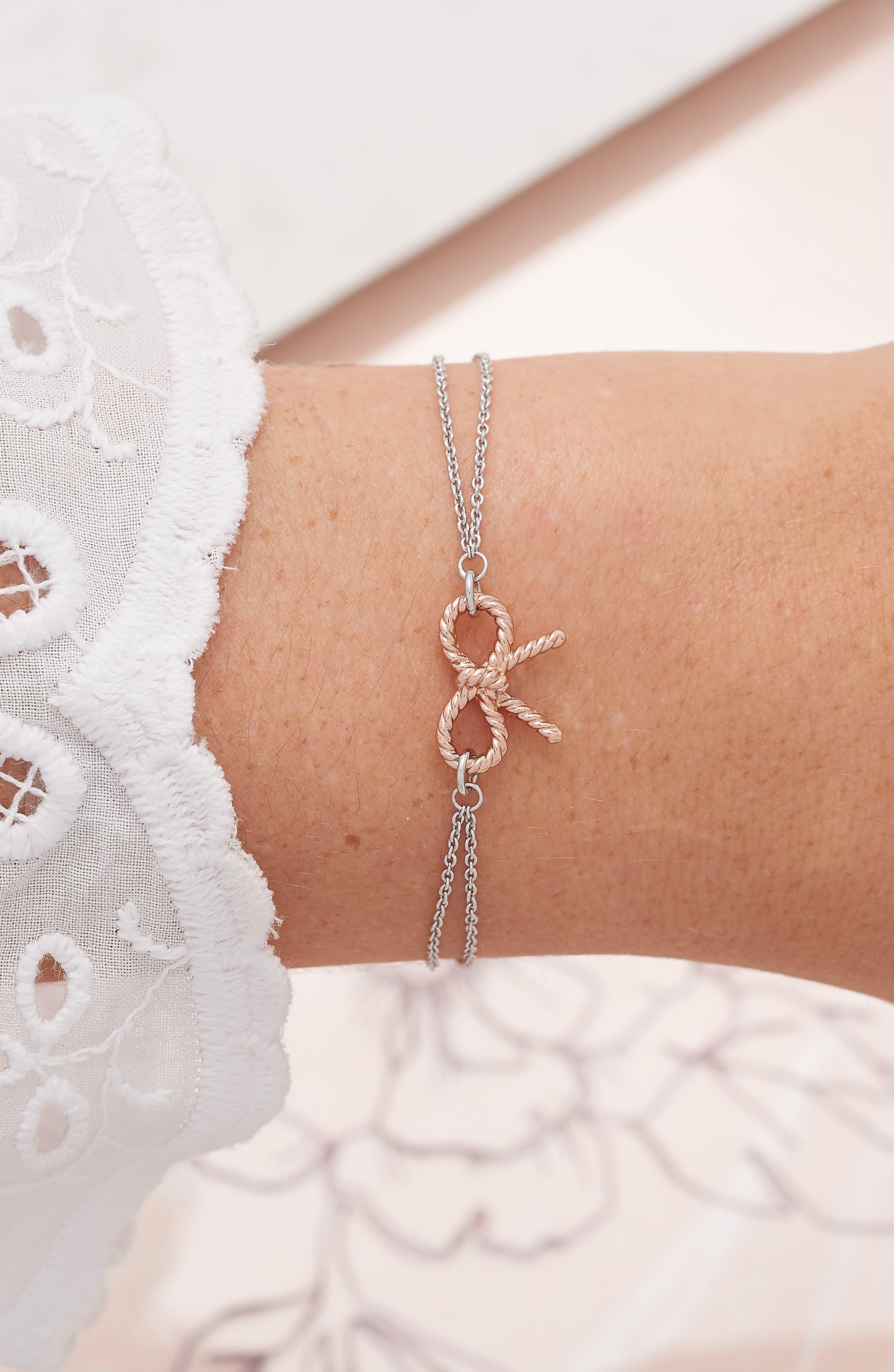 Vintage Bow Chain Bracelet,                             Alternate thumbnail 2, color,                             SILVER/ ROSE GOLD