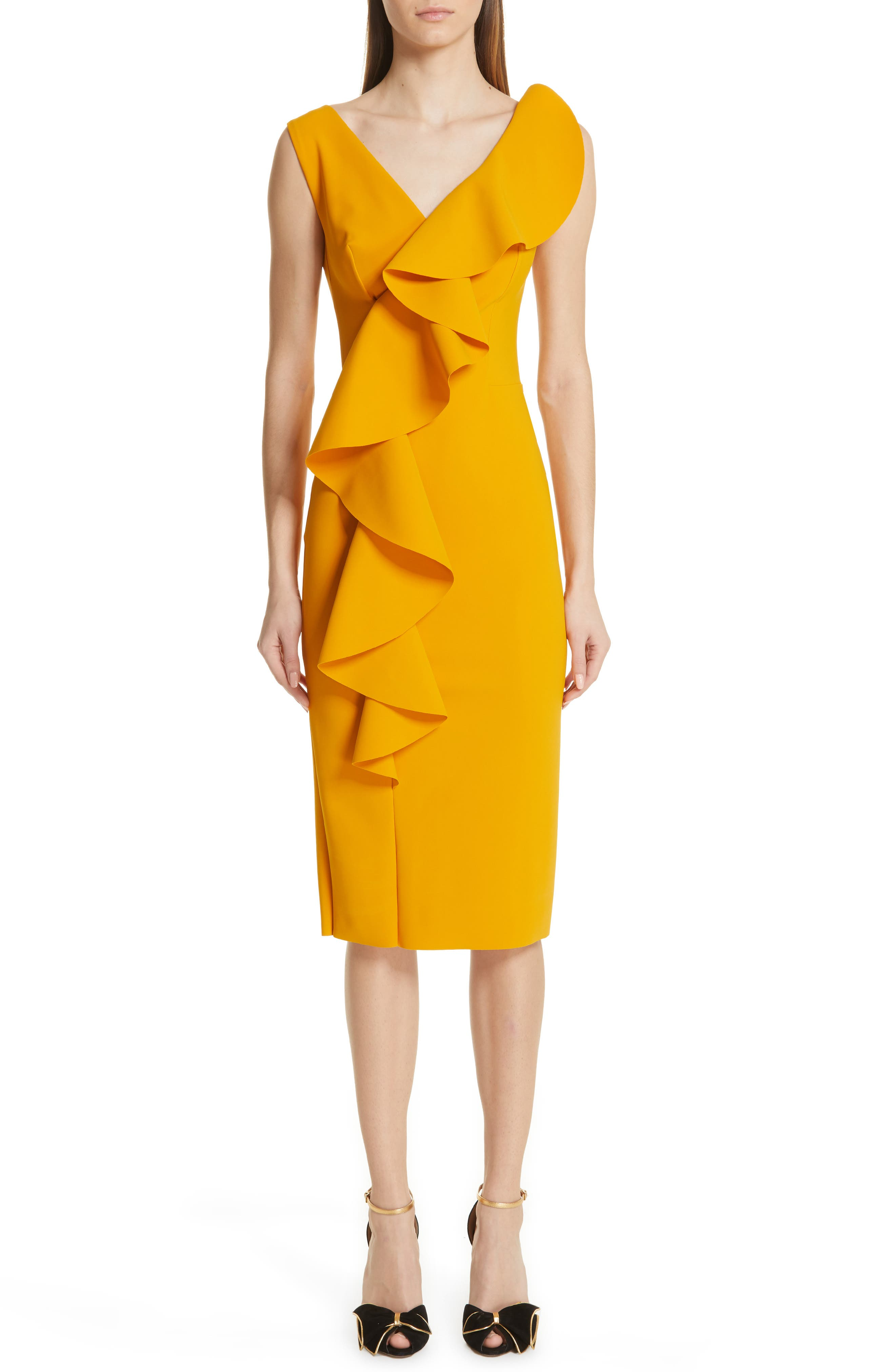 Chiara Boni La Petite Robe Janka Ruffle Midi Cocktail Dress, 8 IT - Yellow