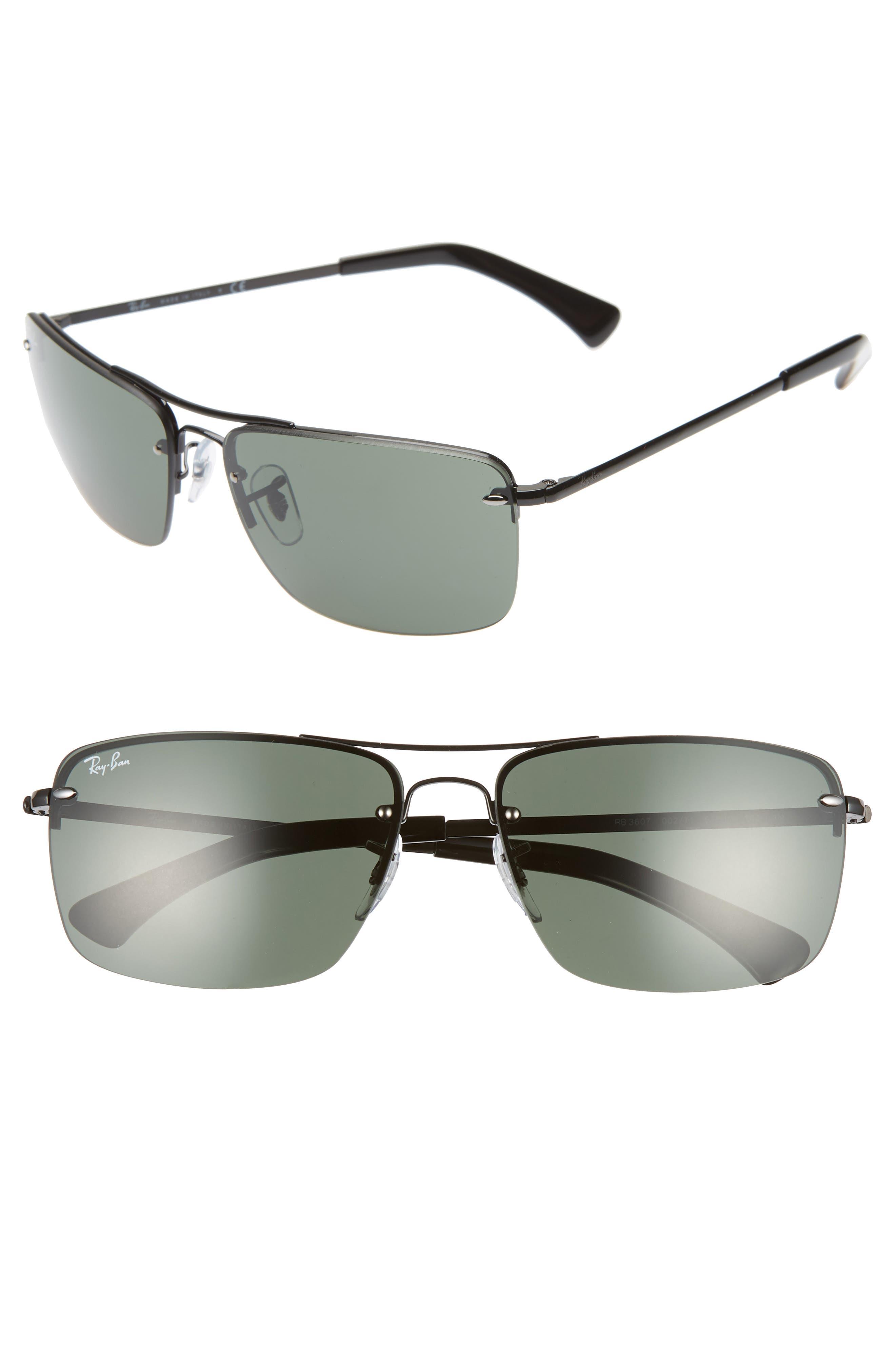 Ray-Ban 61Mm Semi Rimless Navigator Sunglasses - Black/ Dark Green Solid