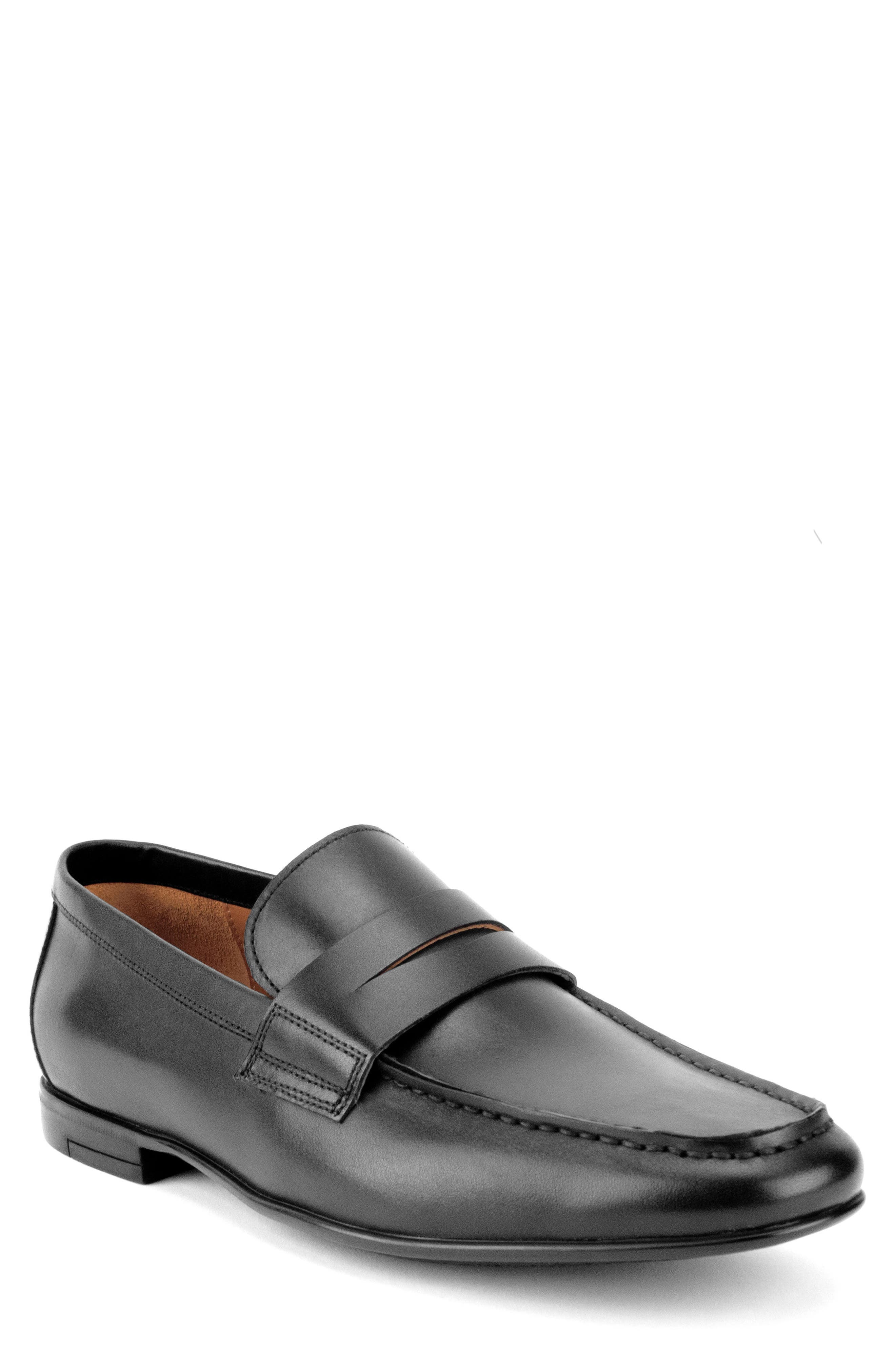Connery Penny Loafer,                         Main,                         color, BLACK LEATHER