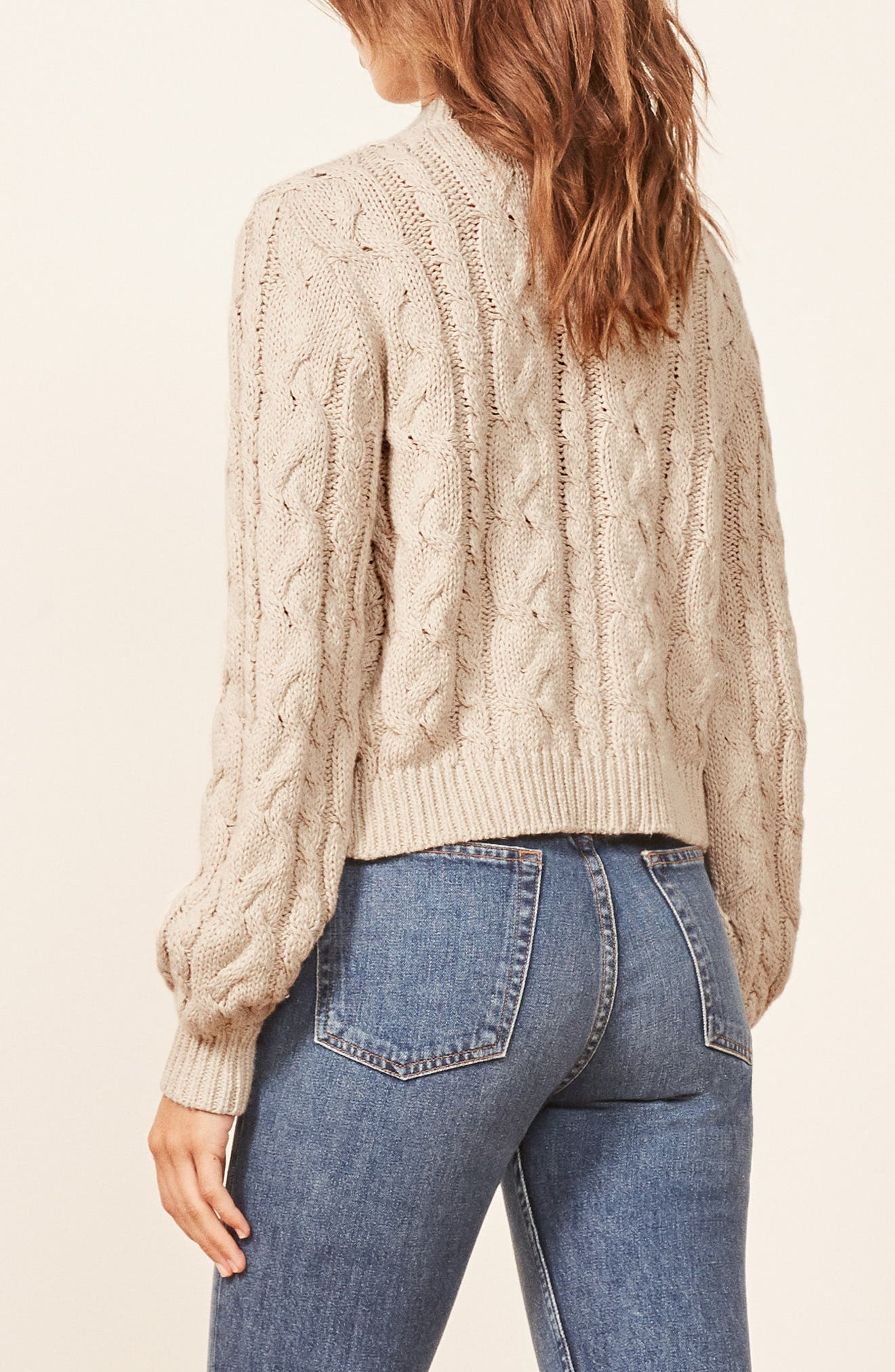 Annie Cable Knit Cardigan,                             Alternate thumbnail 2, color,                             PEARL