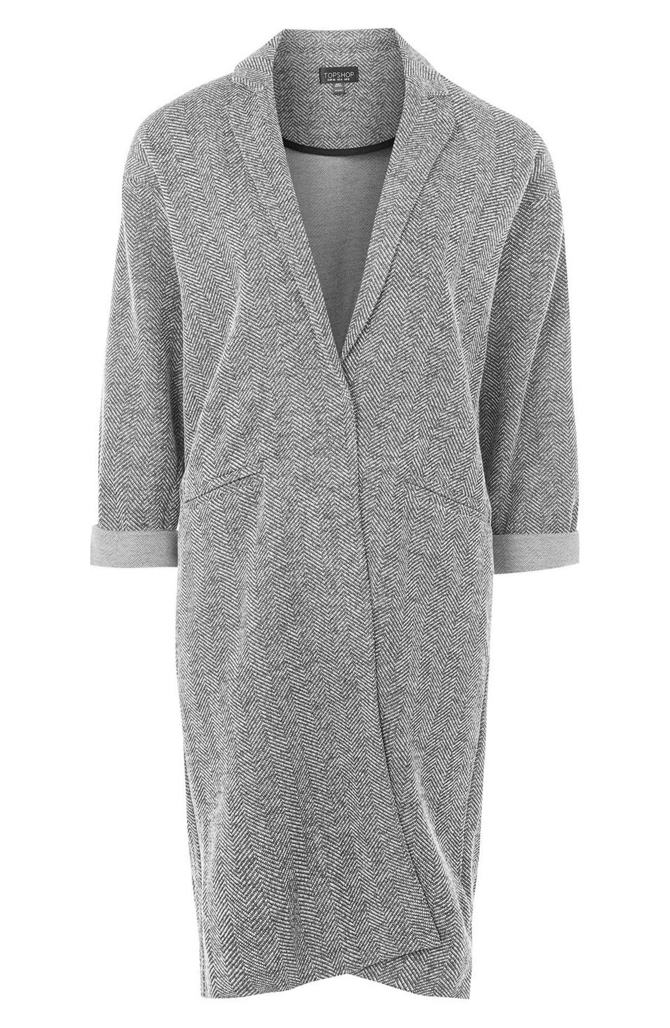 Herringbone Jersey Coat,                             Alternate thumbnail 4, color,                             020