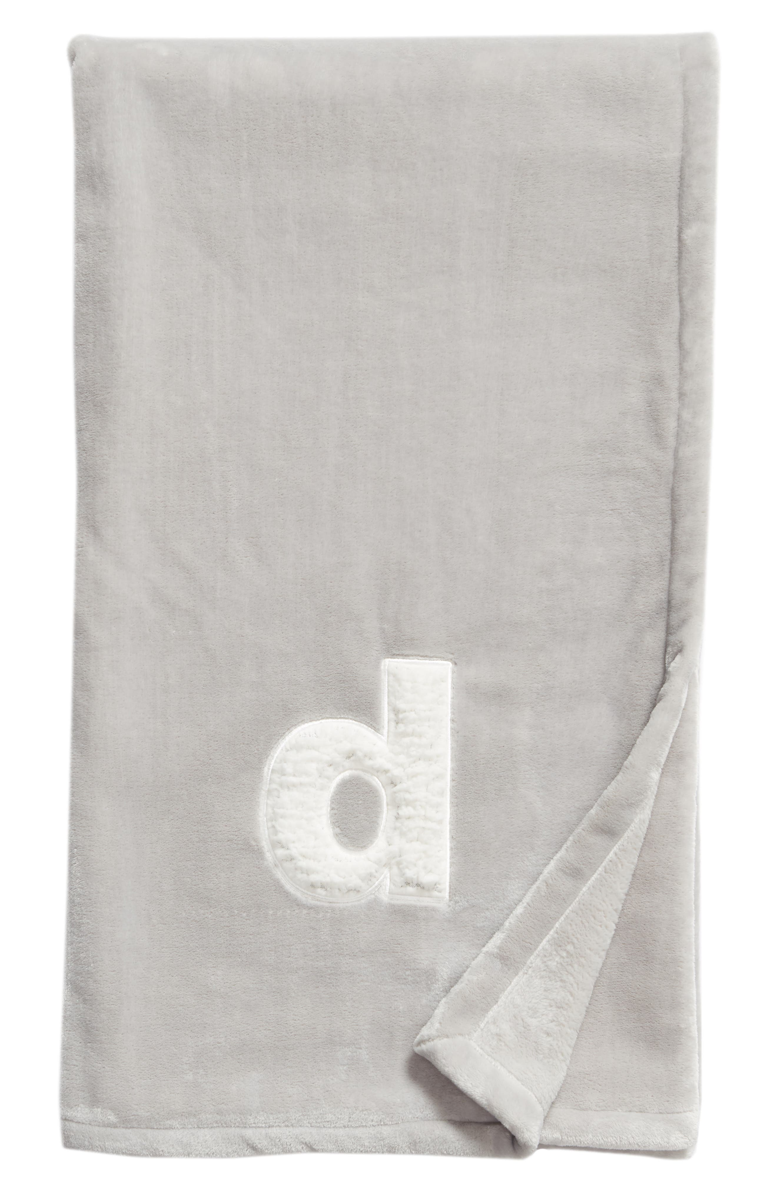 Faux Shearling Monogrammed Plush Throw Blanket, Main, color, GREY-D
