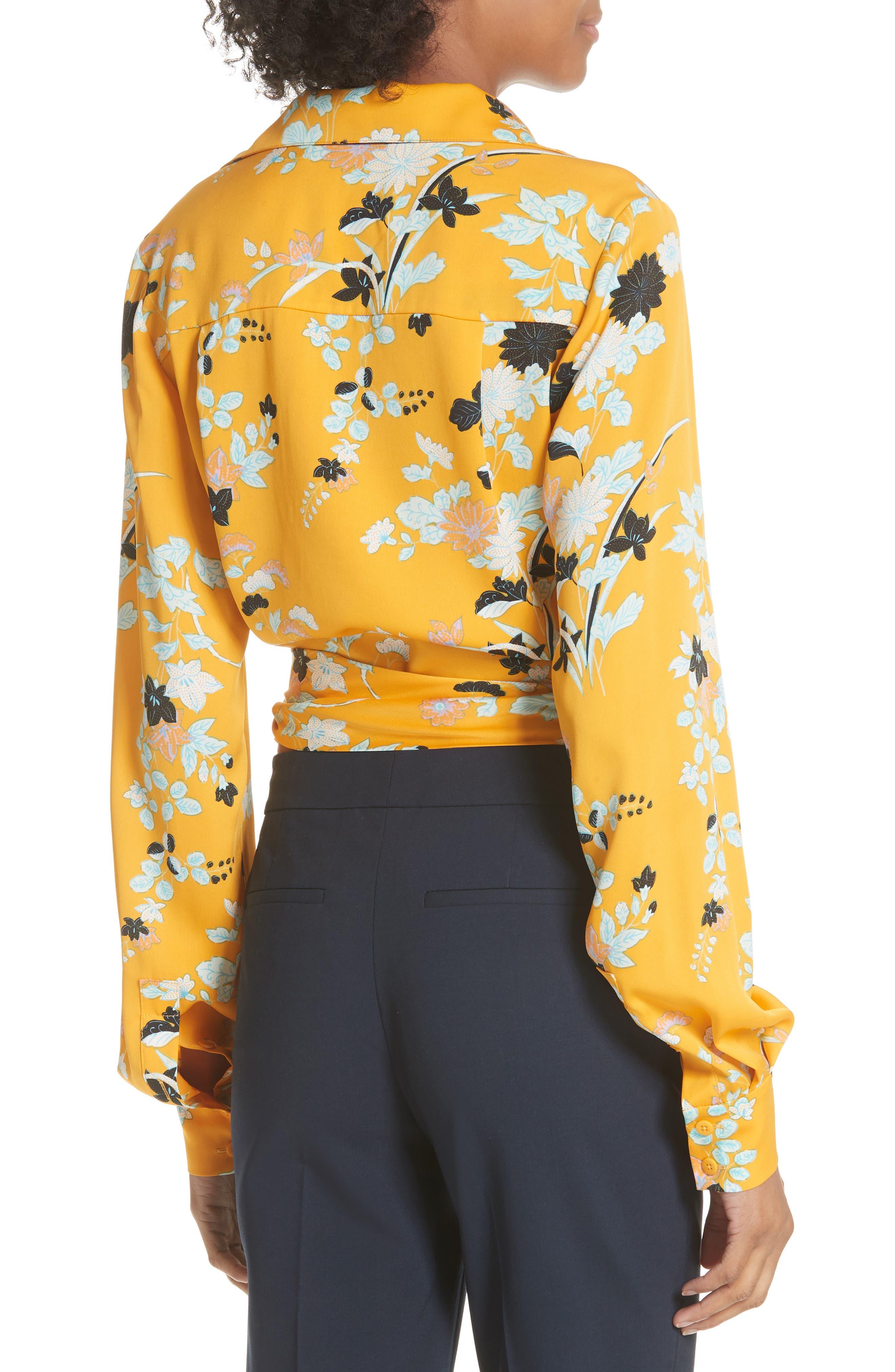 Floral Silk Wrap Blouse,                             Alternate thumbnail 2, color,