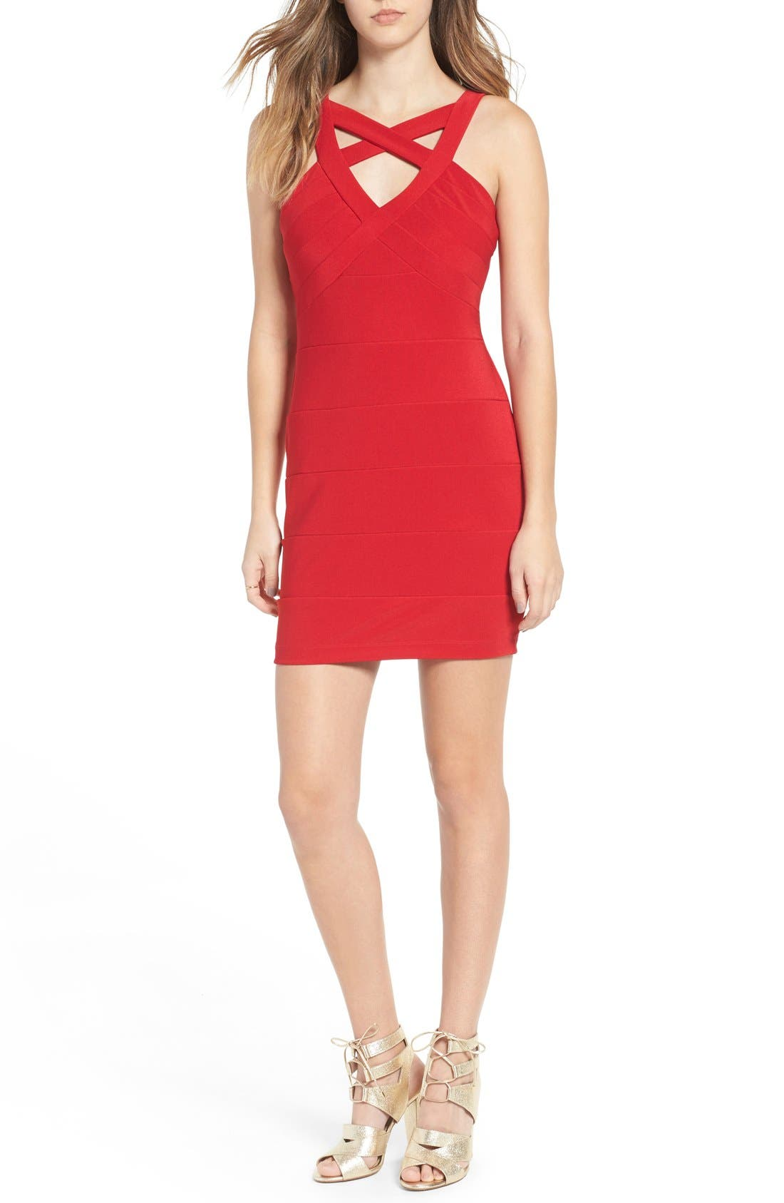 Cross Front Body-Con Dress,                             Main thumbnail 3, color,