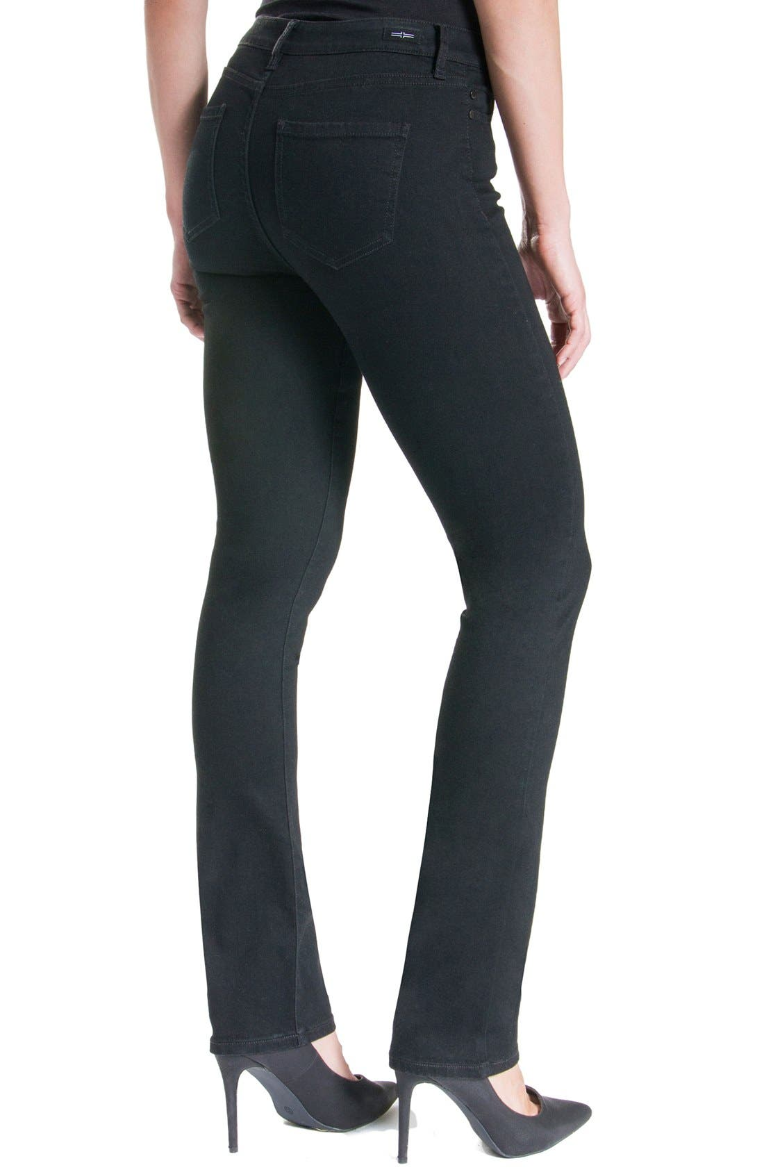 Sadie Mid Rise Stretch Straight Jeans,                             Alternate thumbnail 6, color,                             BLACK RINSE