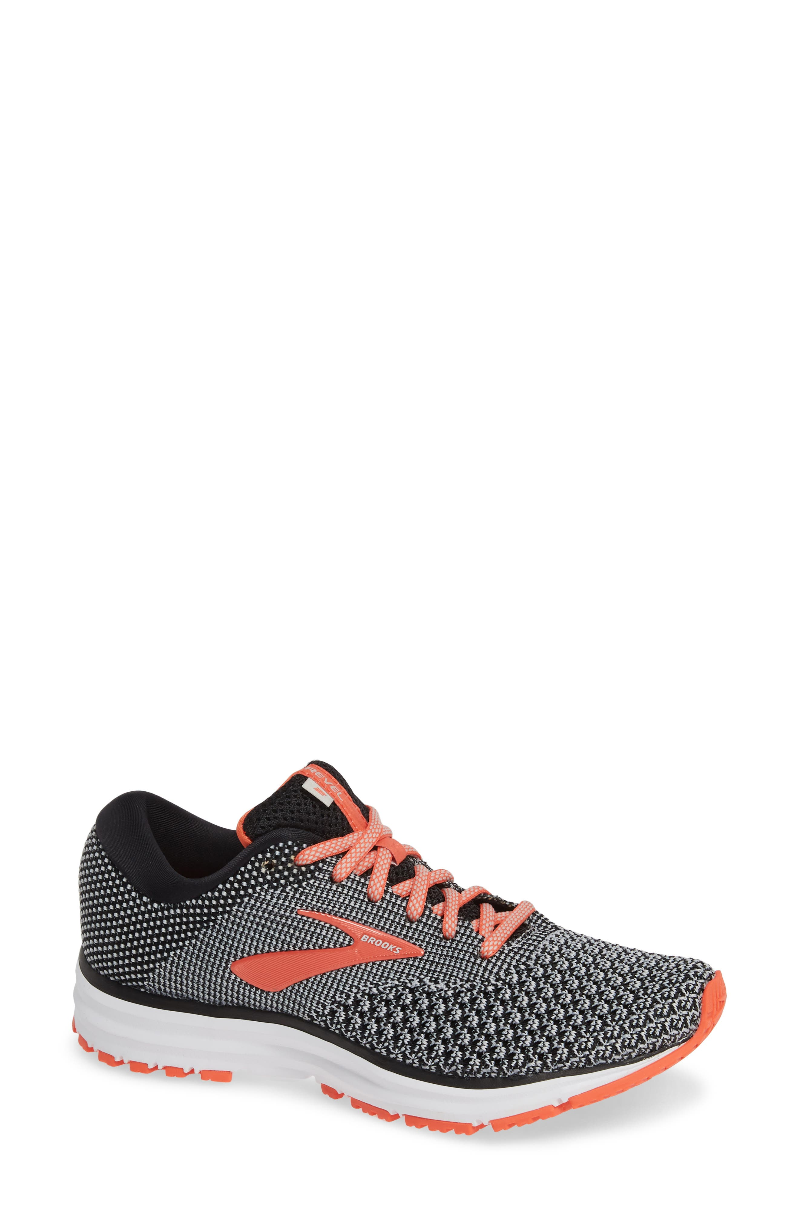Revel 2 Running Shoe,                             Main thumbnail 1, color,                             BLACK/ LIGHT GREY/ CORAL