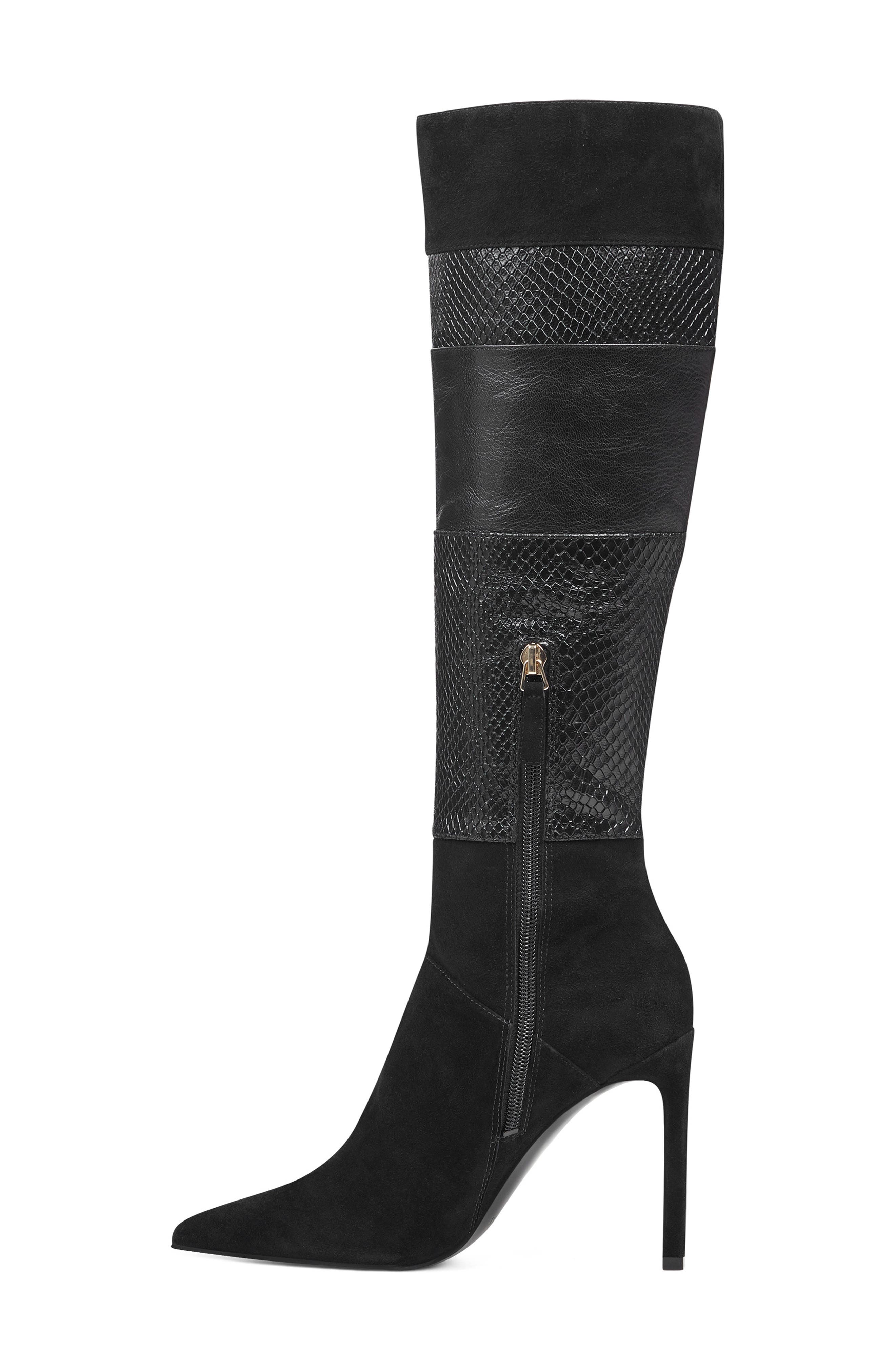 Toprank Blocked Knee High Boot,                             Alternate thumbnail 8, color,                             BLACK SUEDE