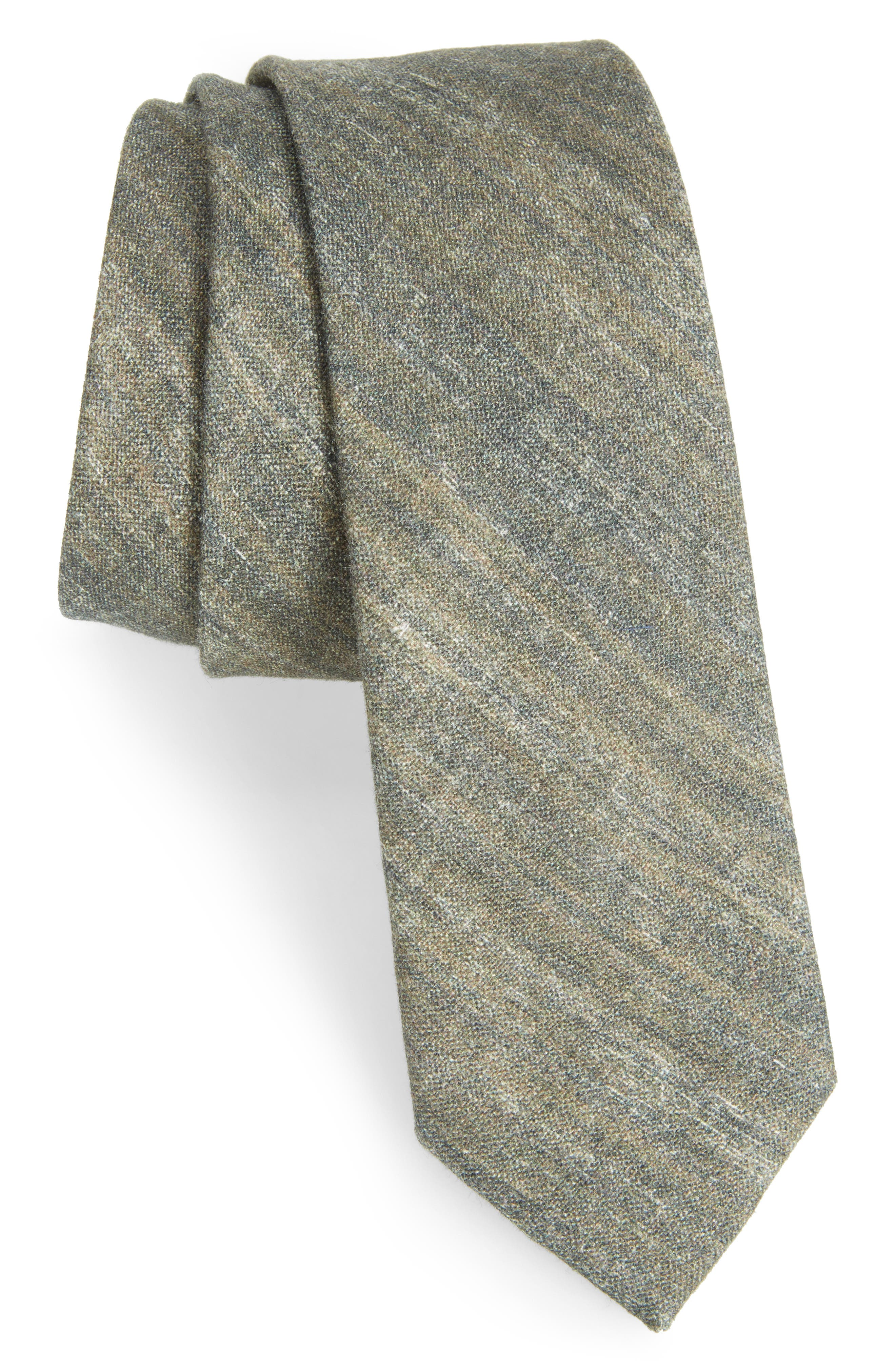 THE TIE BAR Freehand Solid Linen Tie, Main, color, 020