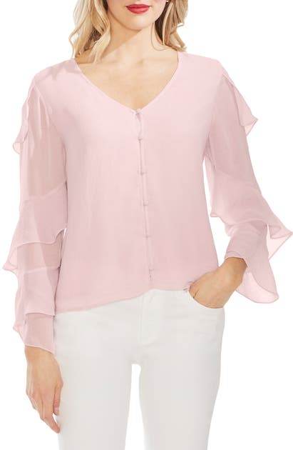 Vince Camuto Tops TIERED SLEEVE BUTTON CHIFFON TOP