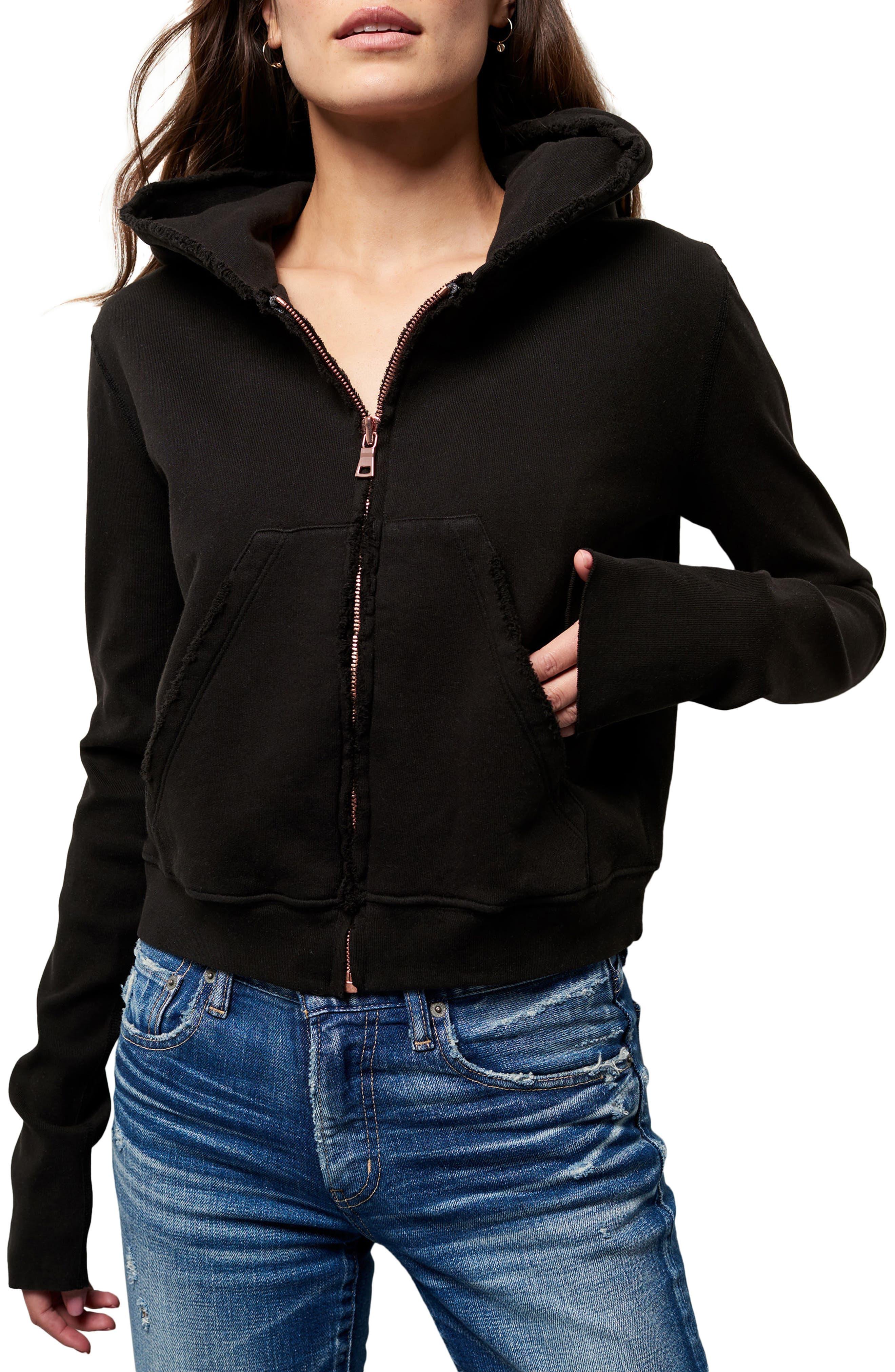 Zip Front Hoodie, Main, color, BLACKOUT