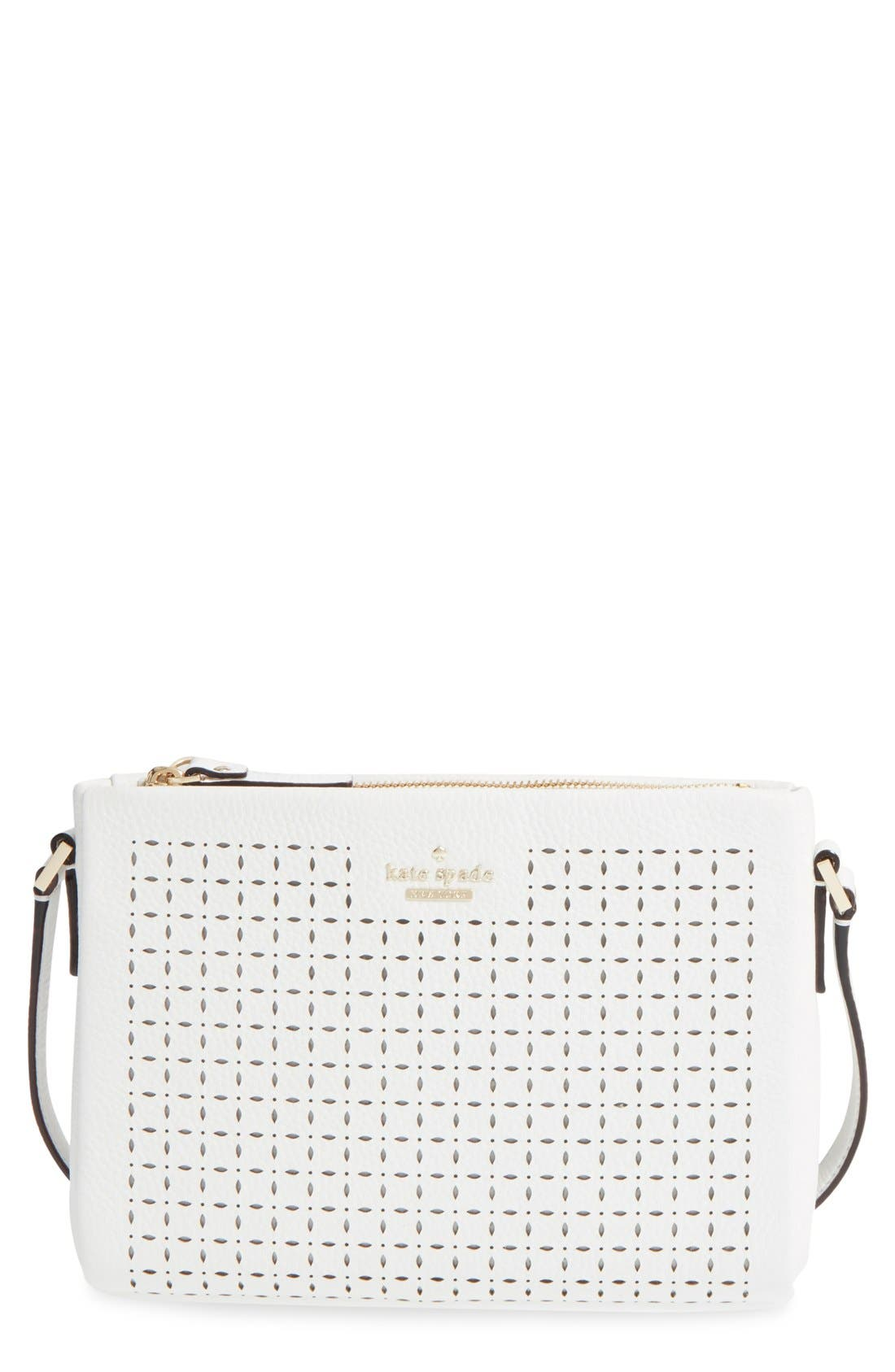 'milton lane - lilibeth' perforated leather crossbody bag,                         Main,                         color, 100
