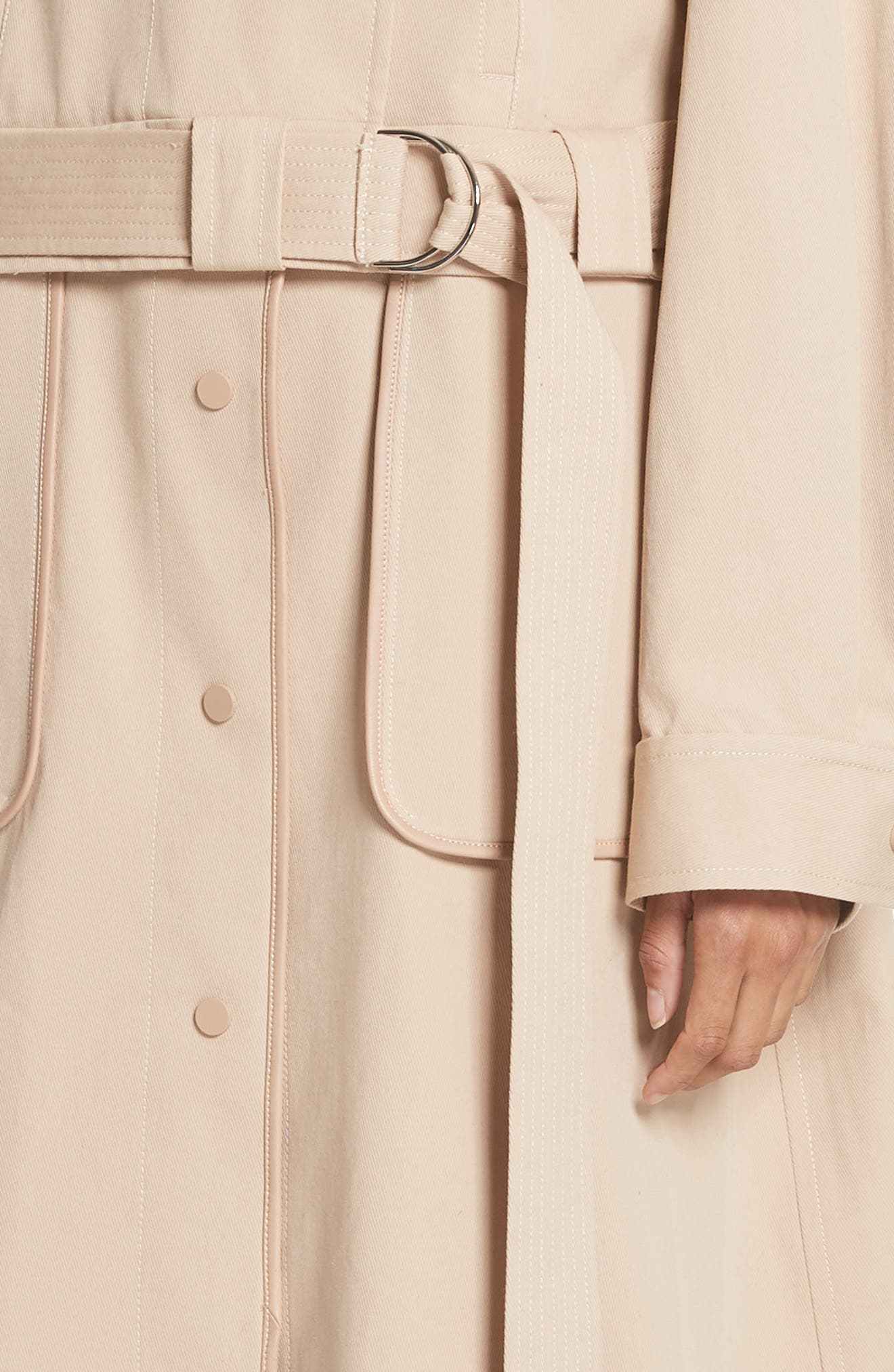 Sailor Stretch Twill Convertible Trench Coat,                             Alternate thumbnail 5, color,                             FAWN