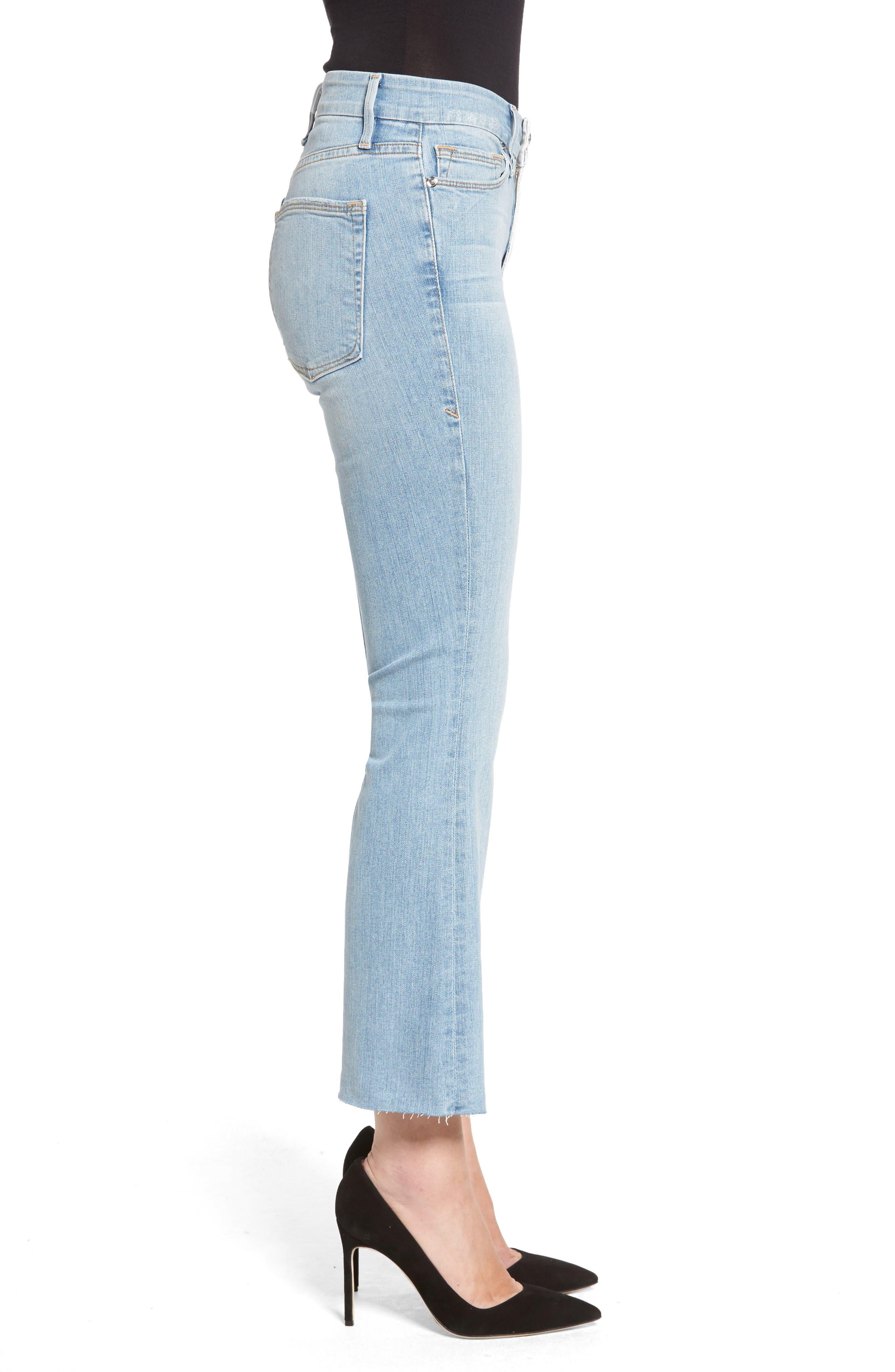 Crop Raw Edge Bootcut Jeans,                             Alternate thumbnail 3, color,                             402