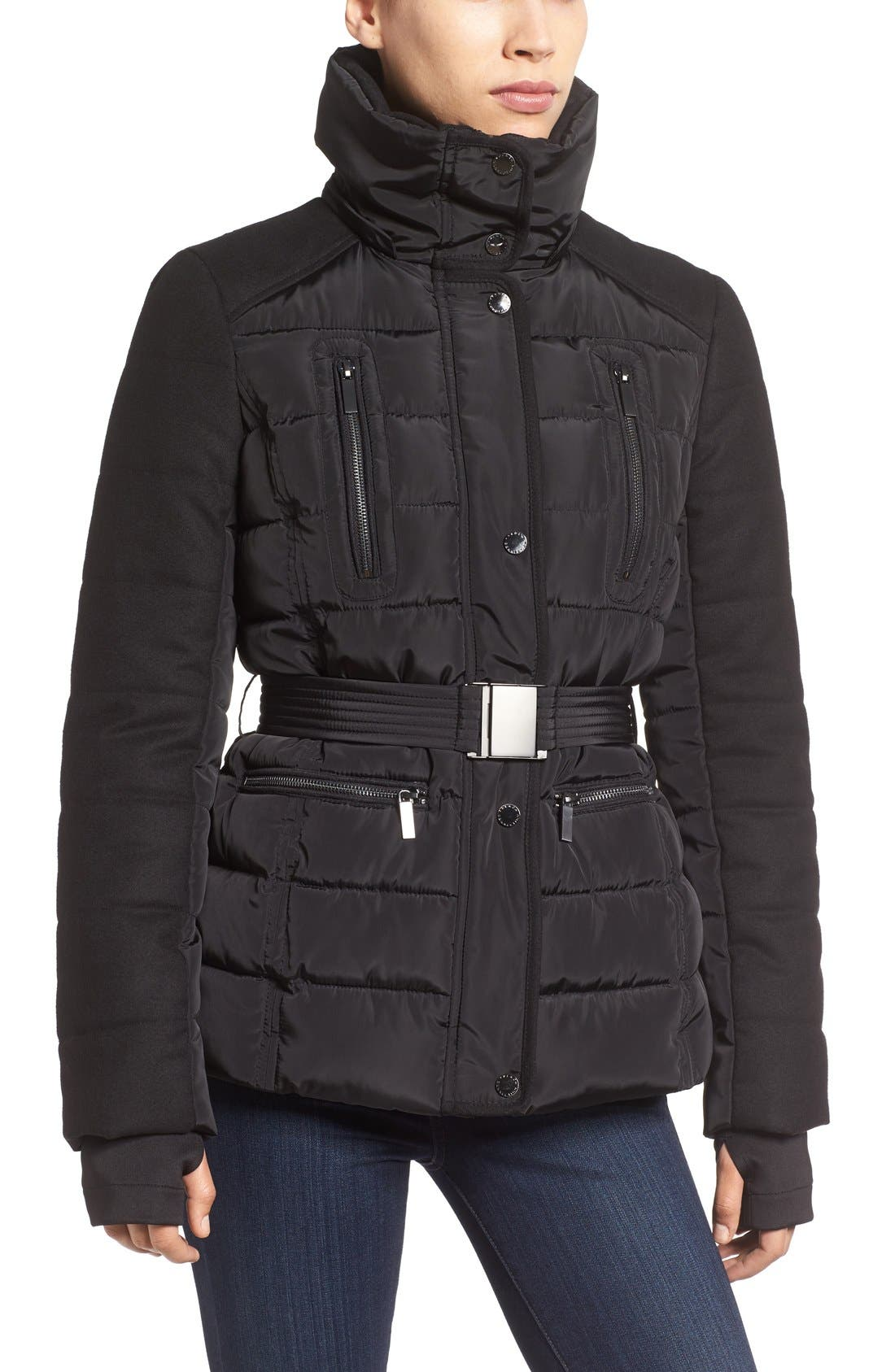 Belted Quilted Jacket with Faux Fur Trim,                             Alternate thumbnail 4, color,                             001