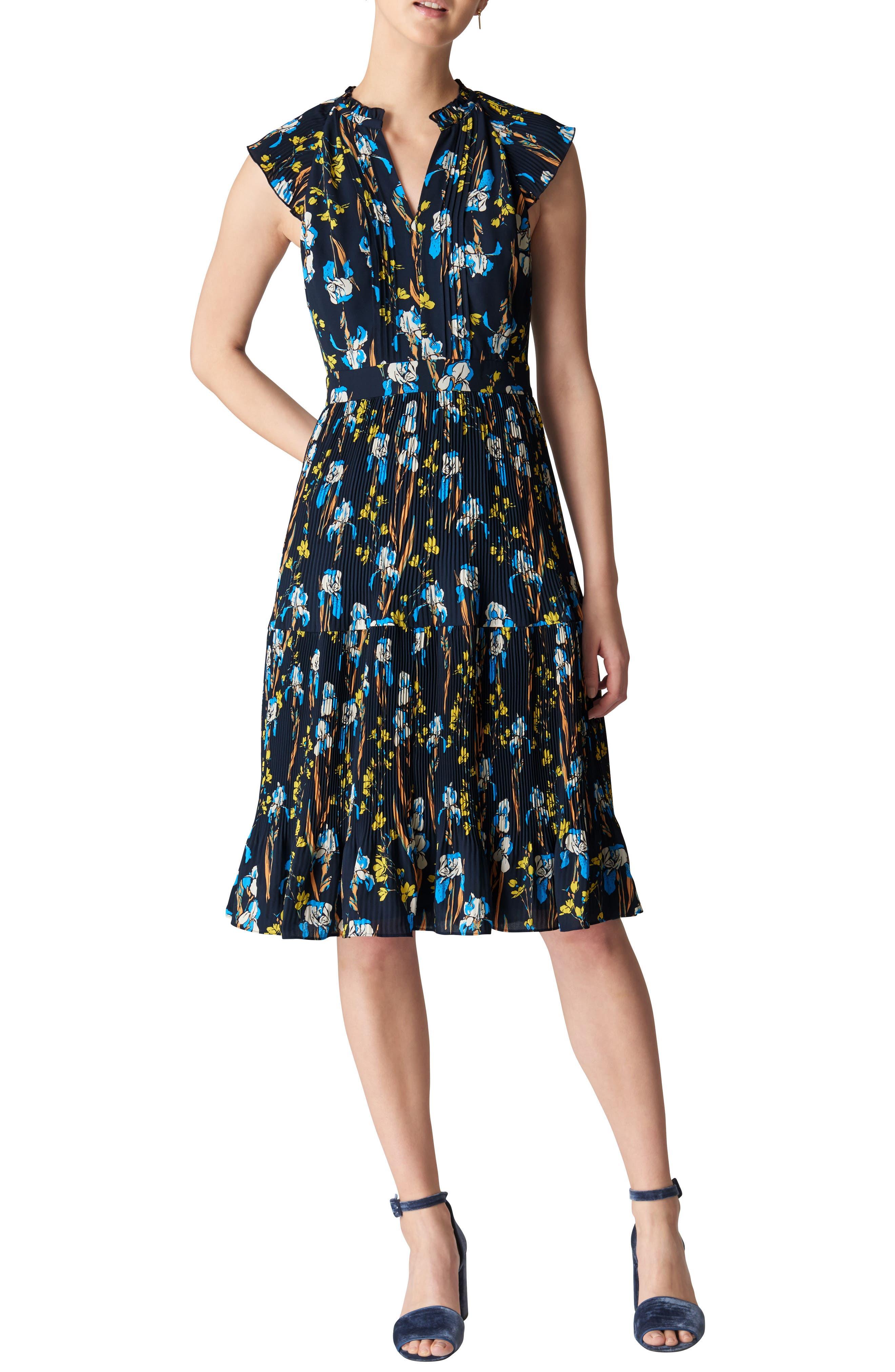 Celia Iris Pleat Dress,                         Main,                         color, 400