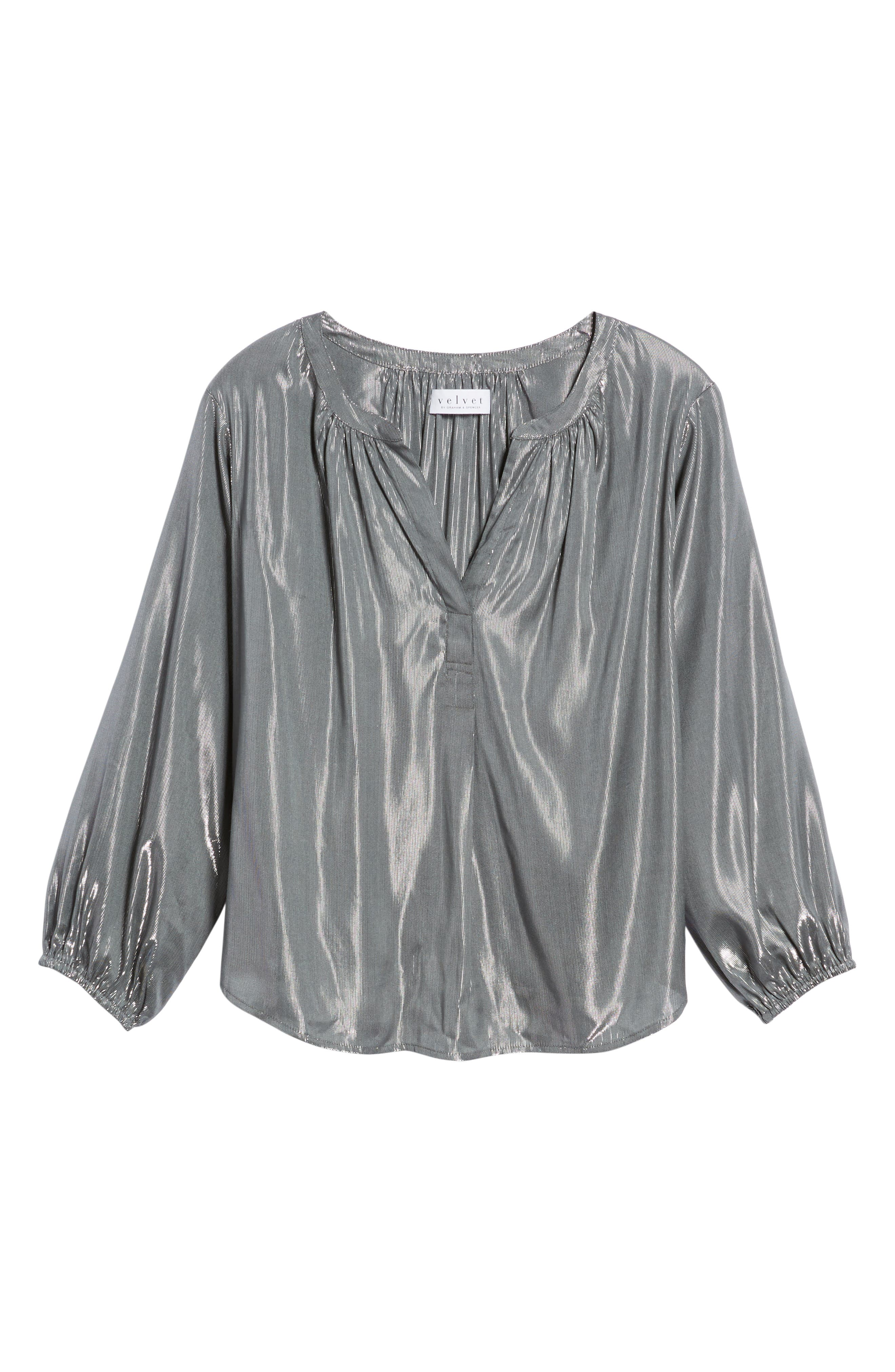 Lamé Henley Blouse,                             Alternate thumbnail 6, color,                             GUNMETAL