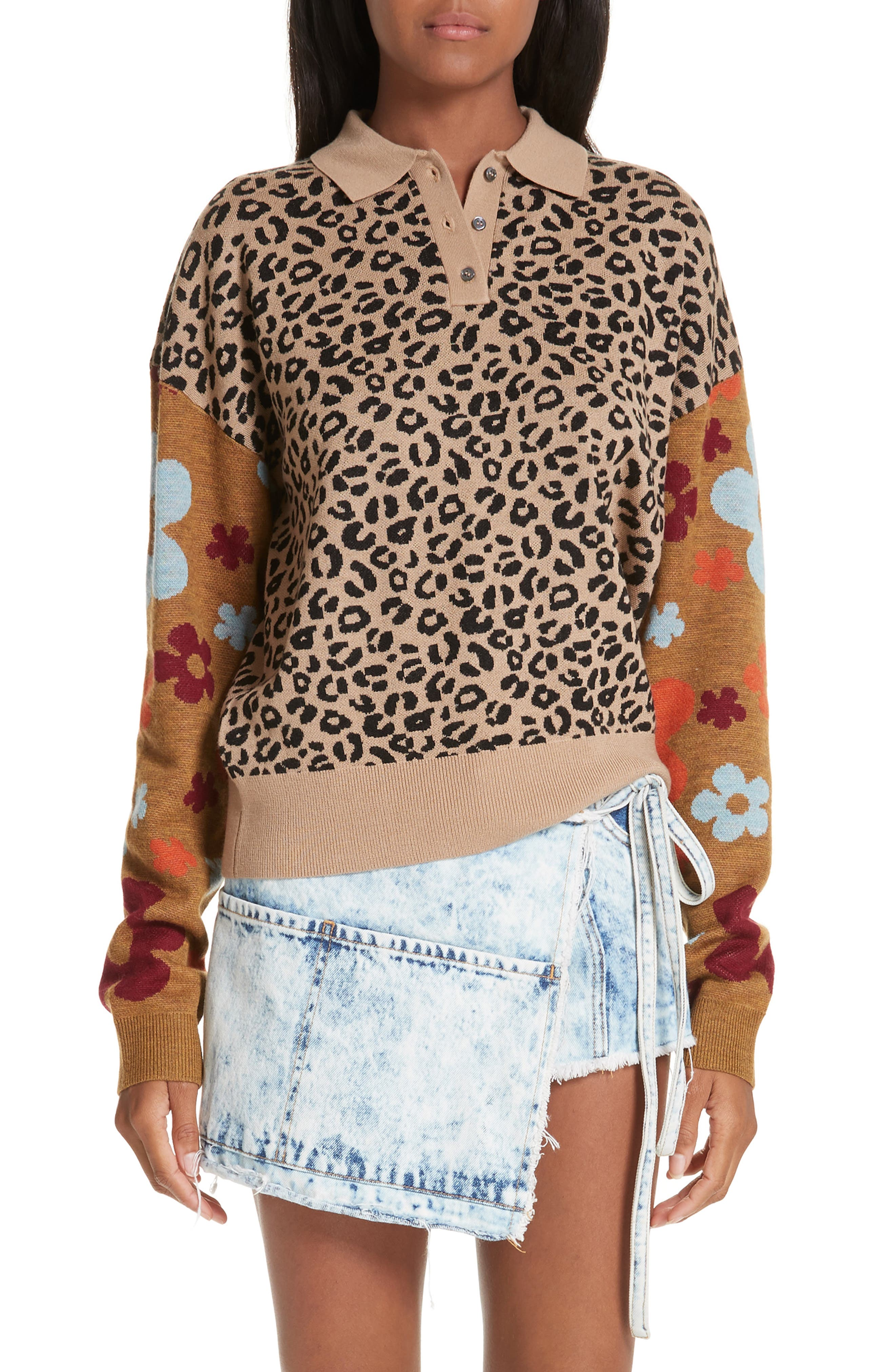 SANDY LIANG,                             Paw Paw Polo Sweater,                             Main thumbnail 1, color,                             LEOPARD FLORAL