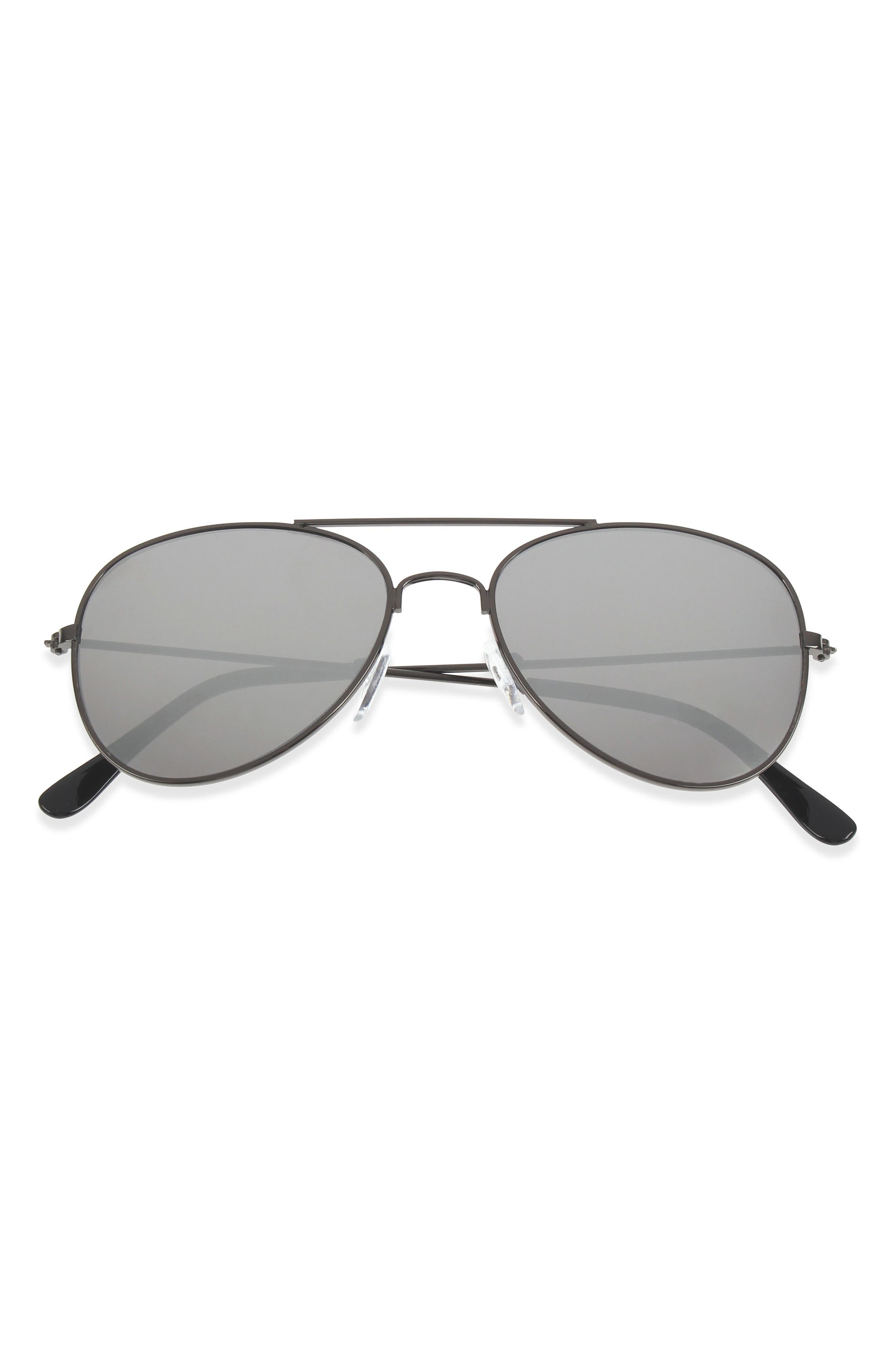 50mm Mirrored Aviator Sunglasses,                             Main thumbnail 1, color,                             002