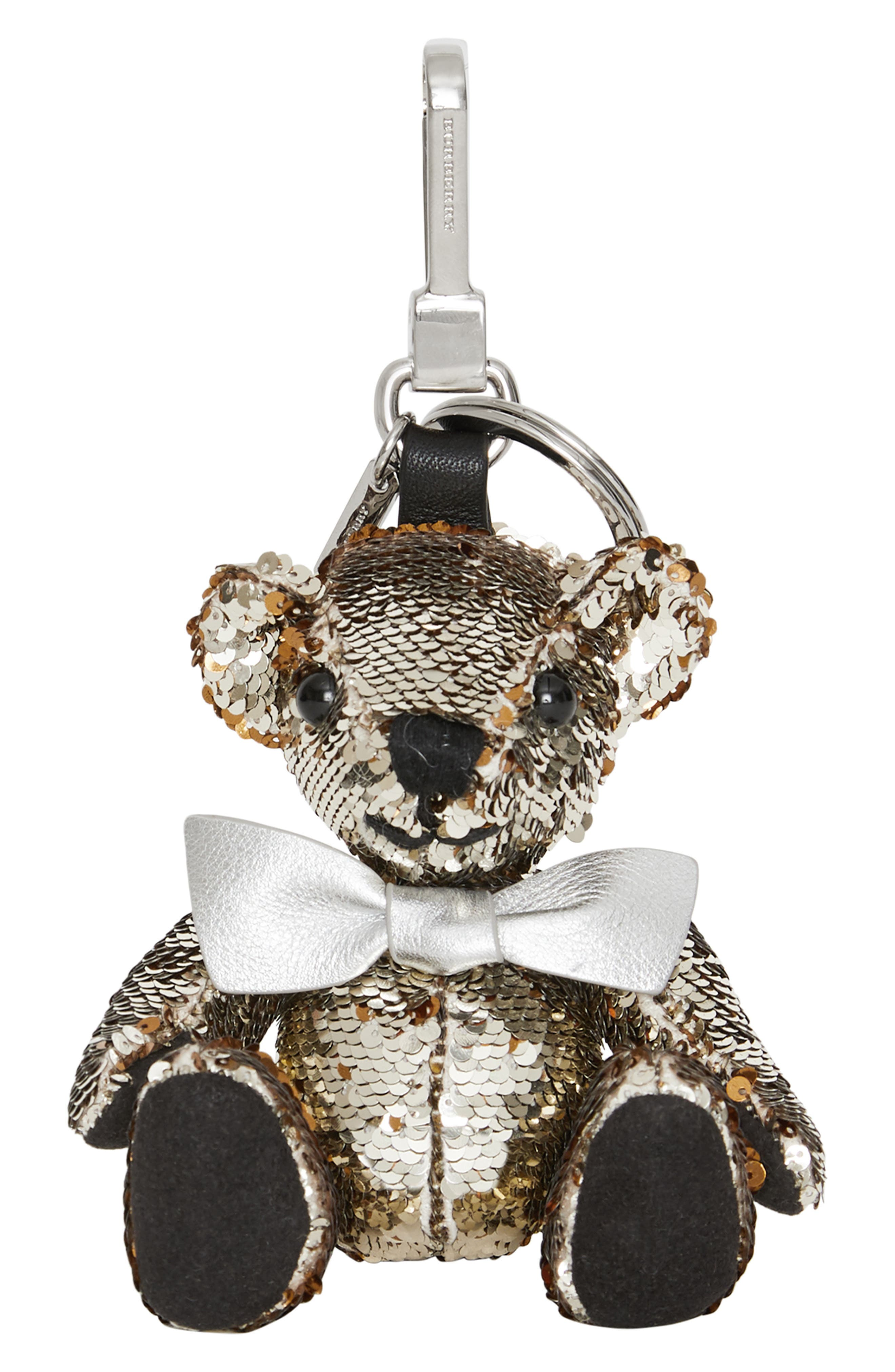 Thomas Bear Sequin Bag Charm,                             Main thumbnail 1, color,                             SILVER