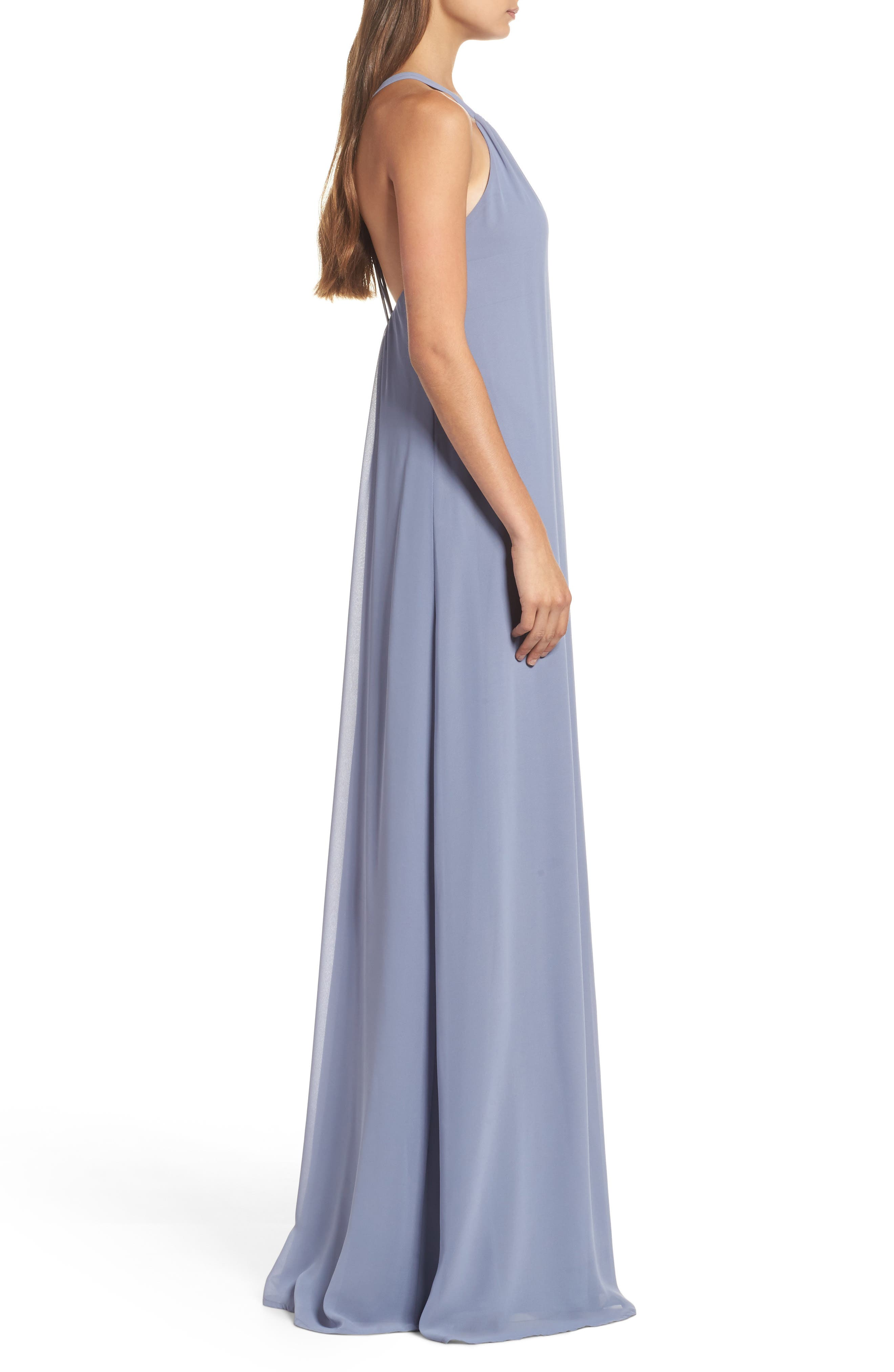 Strappy High Neck Chiffon Gown,                             Alternate thumbnail 3, color,                             020