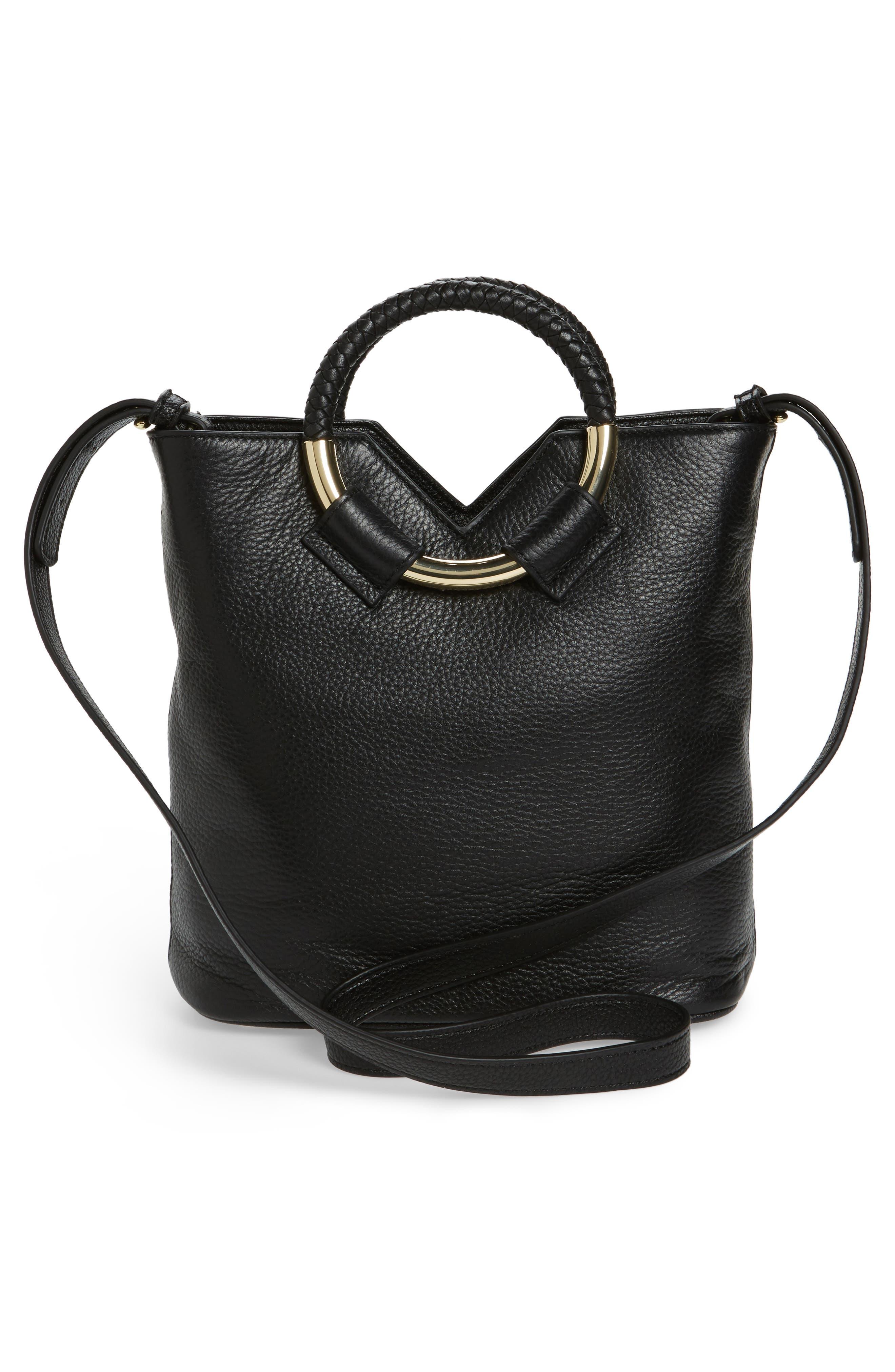 Small Elina Leather Crossbody Bag,                             Alternate thumbnail 3, color,                             001