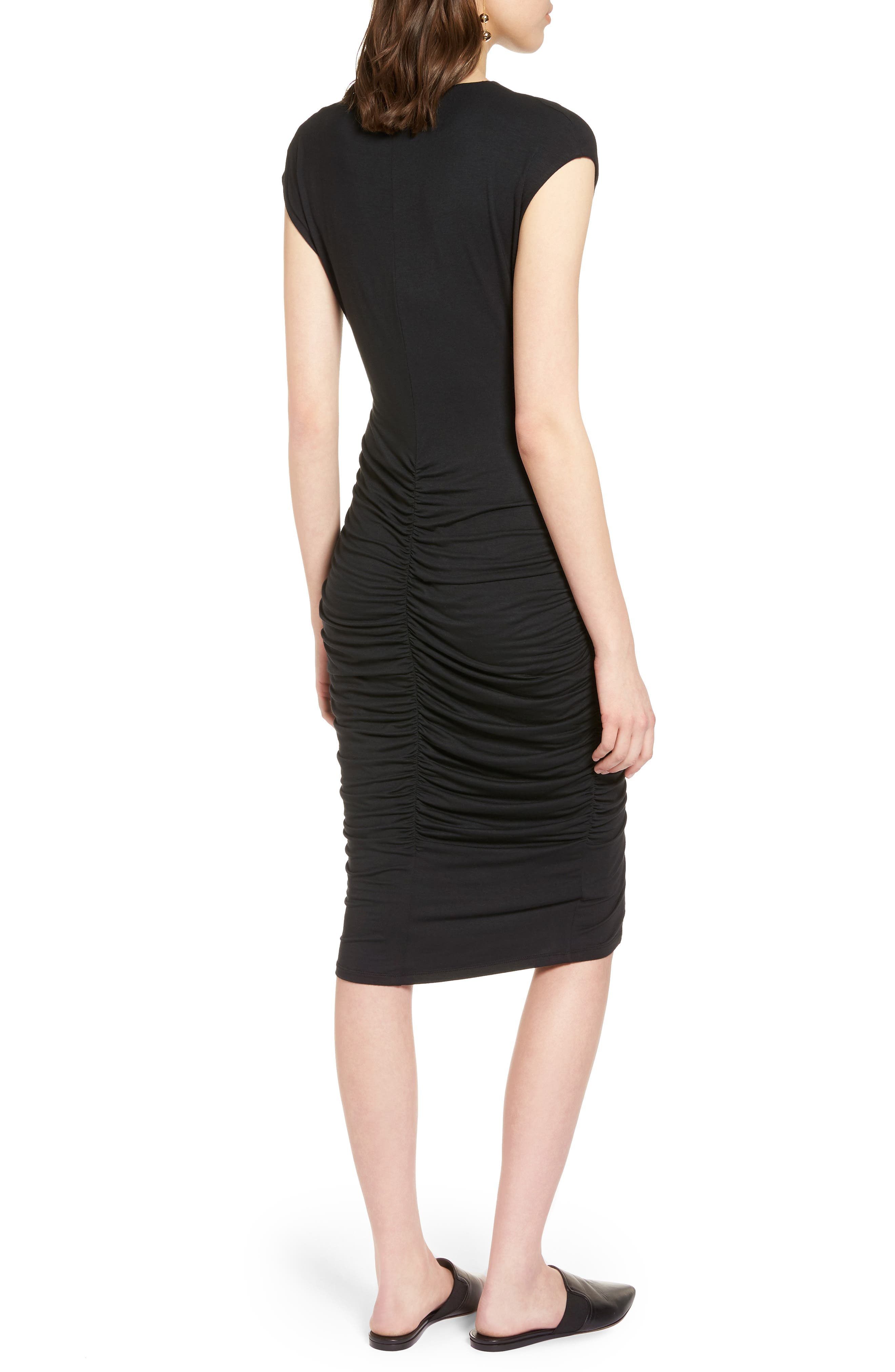 Ruched Detail Sheath Dress,                             Alternate thumbnail 4, color,