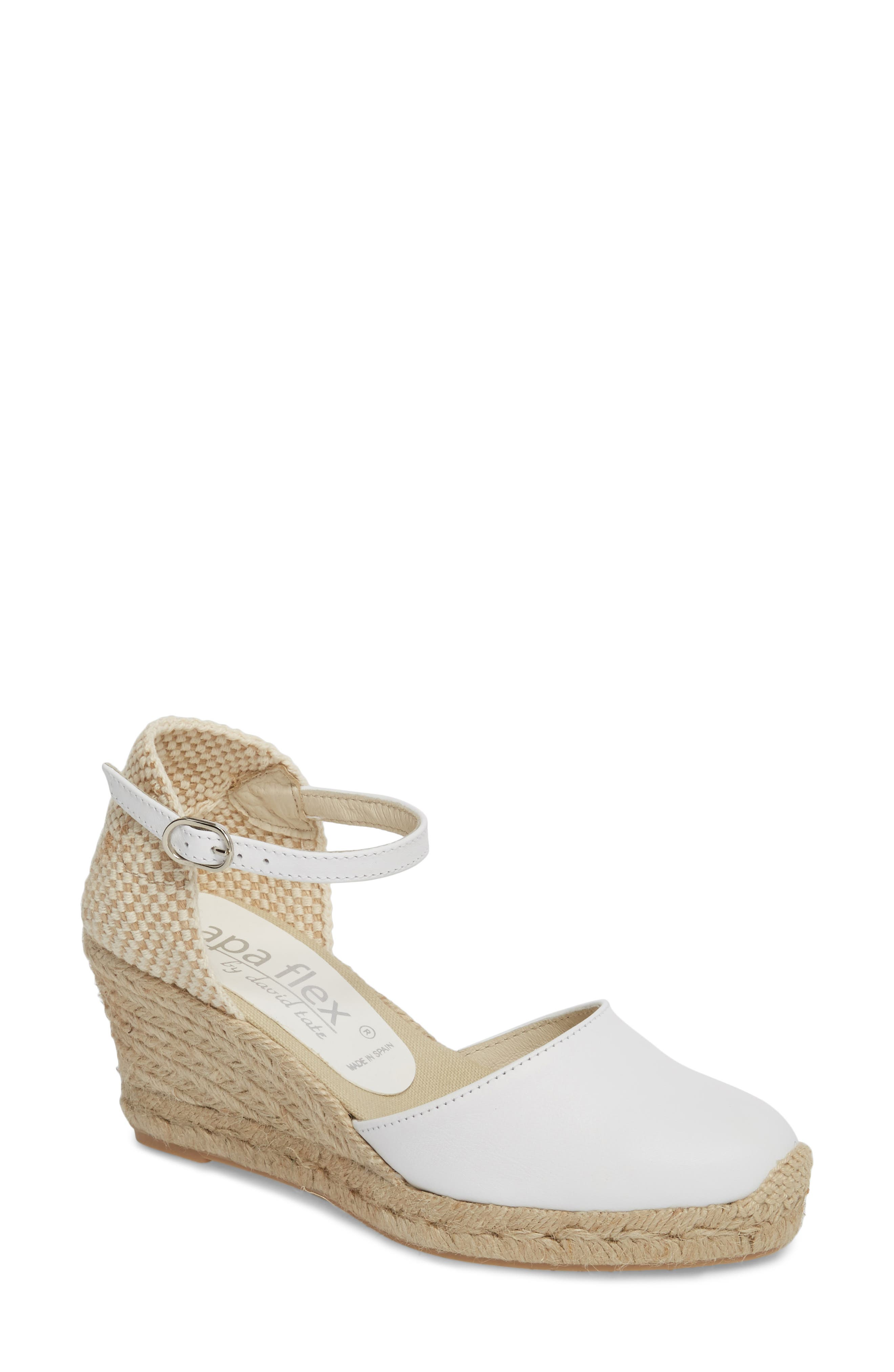 Europa Wedge Sandal,                         Main,                         color, WHITE LEATHER