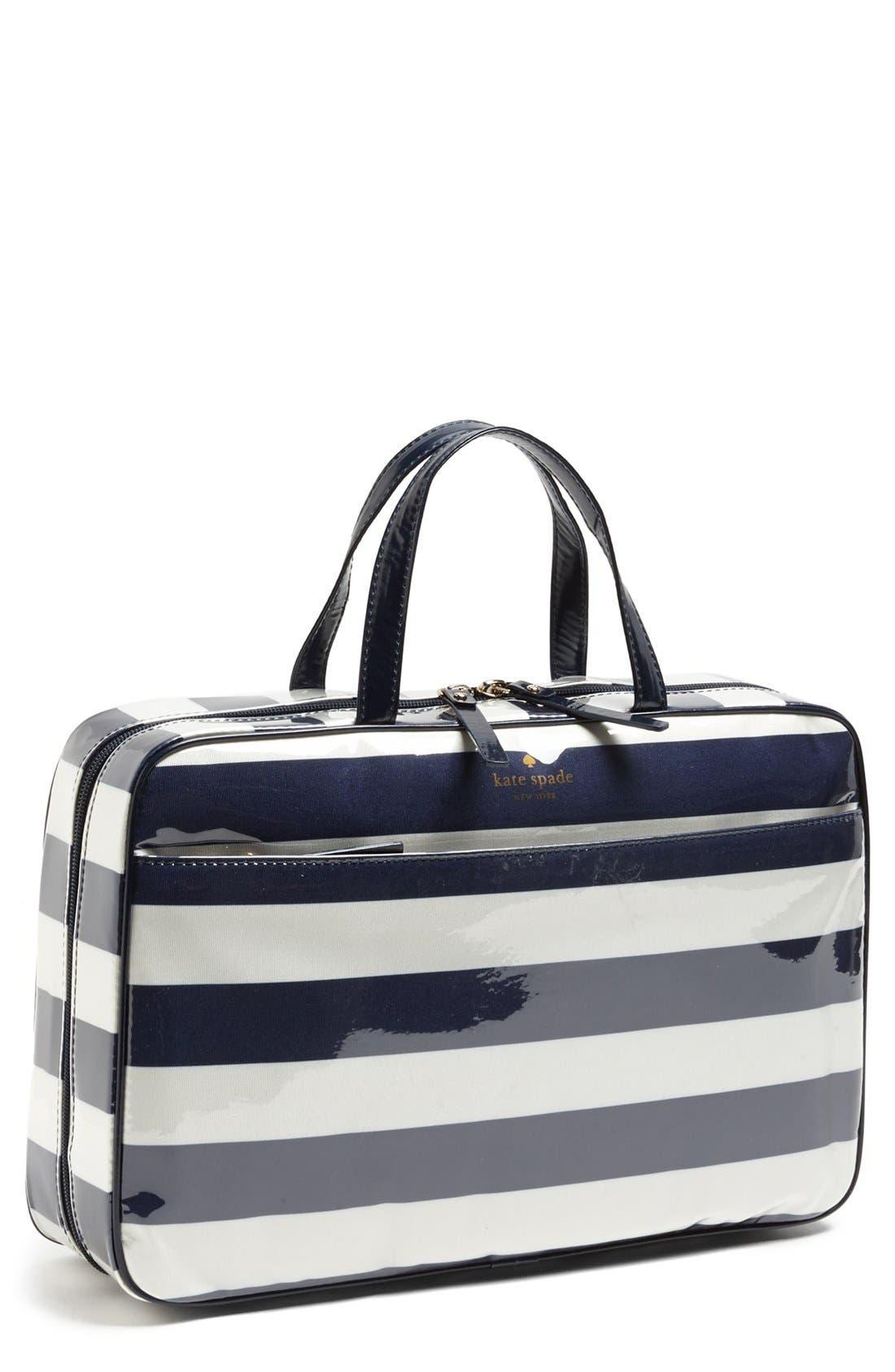 'cobblestone park stripe - large manuela' cosmetics case, Main, color, 435