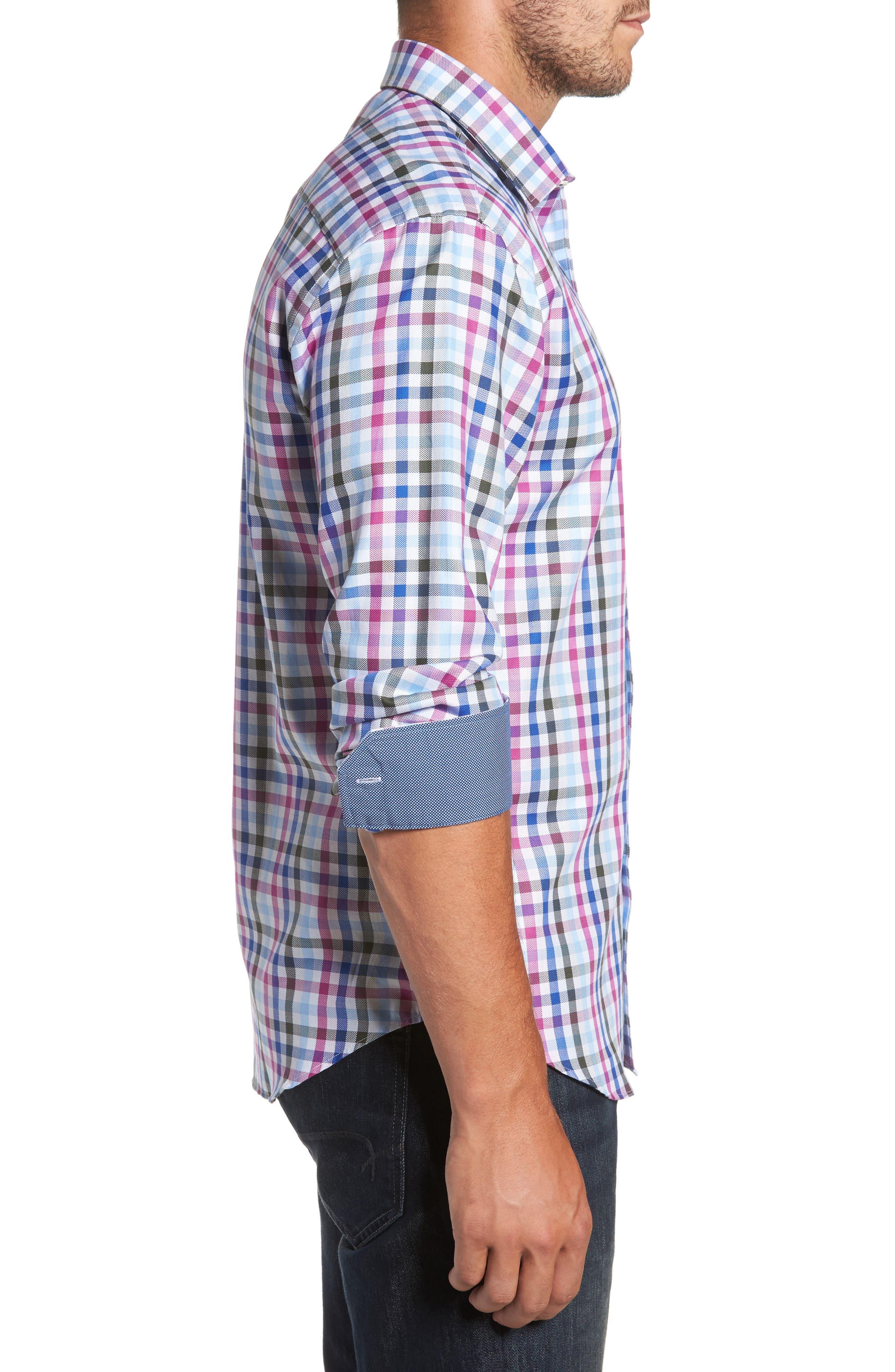 Shaped Fit Plaid Sport Shirt,                             Alternate thumbnail 3, color,                             537