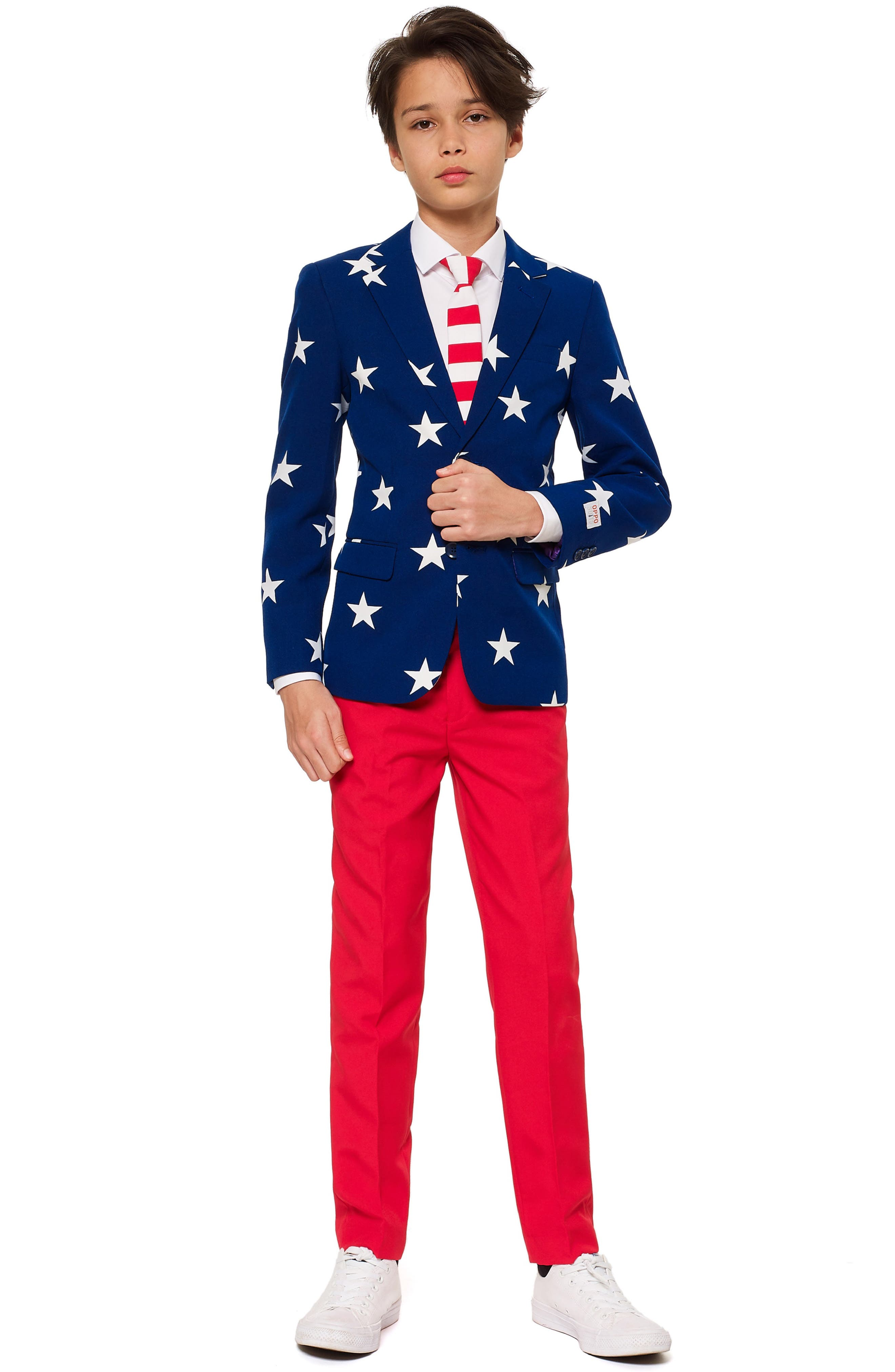 Stars & Stripes Two-Piece Suit with Tie,                             Main thumbnail 1, color,                             BLUE/ WHITE